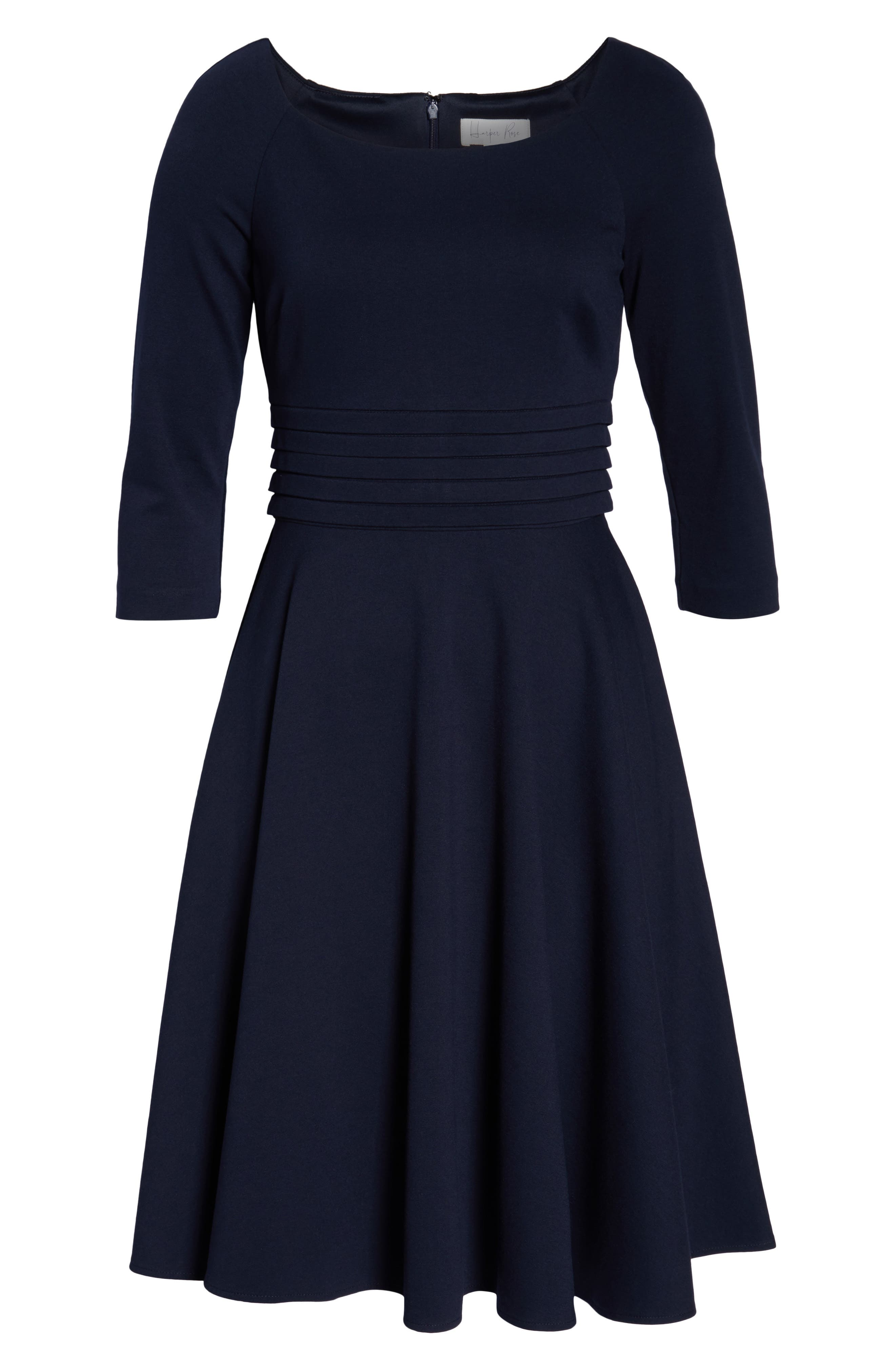 Pleated Waist Fit & Flare Dress,                             Alternate thumbnail 8, color,                             NAVY