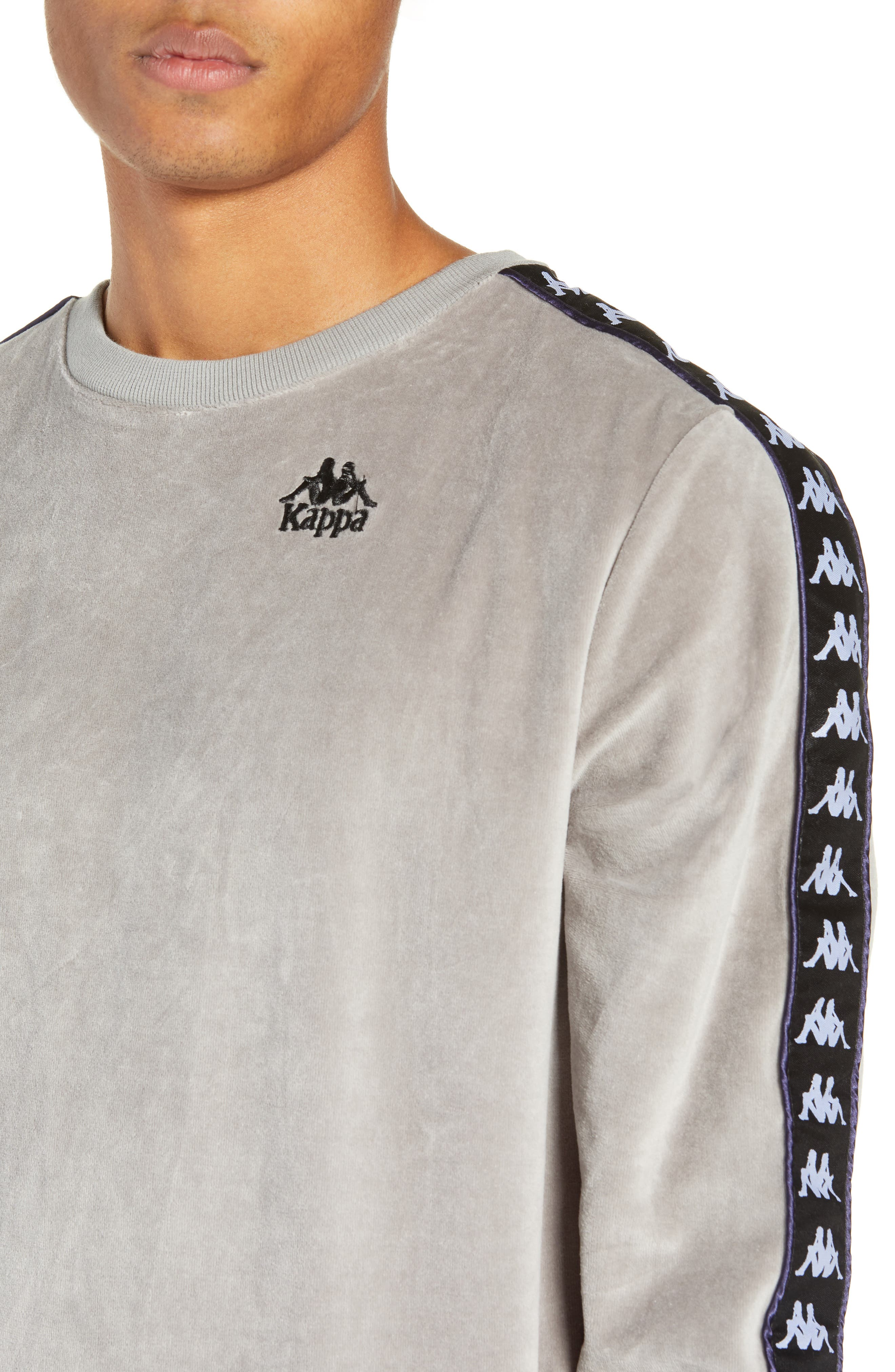 Authentic Aynset Velour Crewneck Sweatshirt,                             Alternate thumbnail 4, color,                             GREY MIST/ BLACK/ WHITE