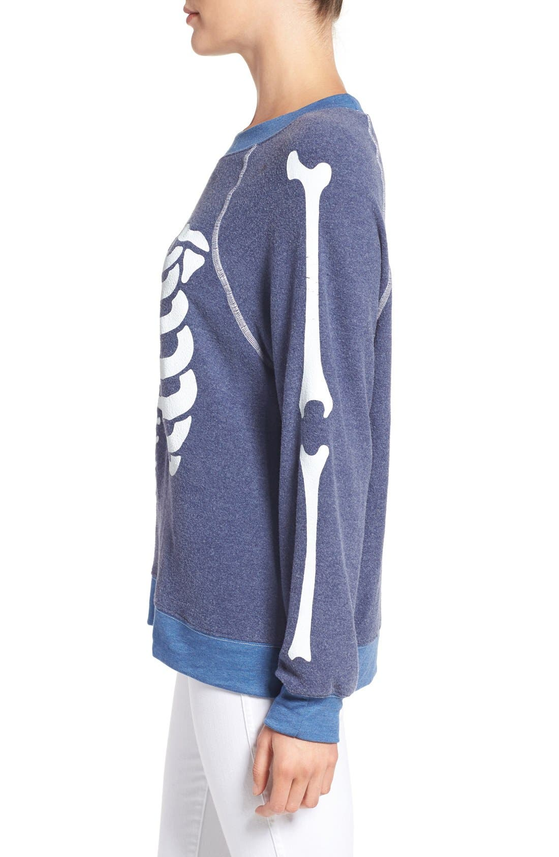 'Inside Out' Skeleton Print Pullover,                             Alternate thumbnail 3, color,                             401