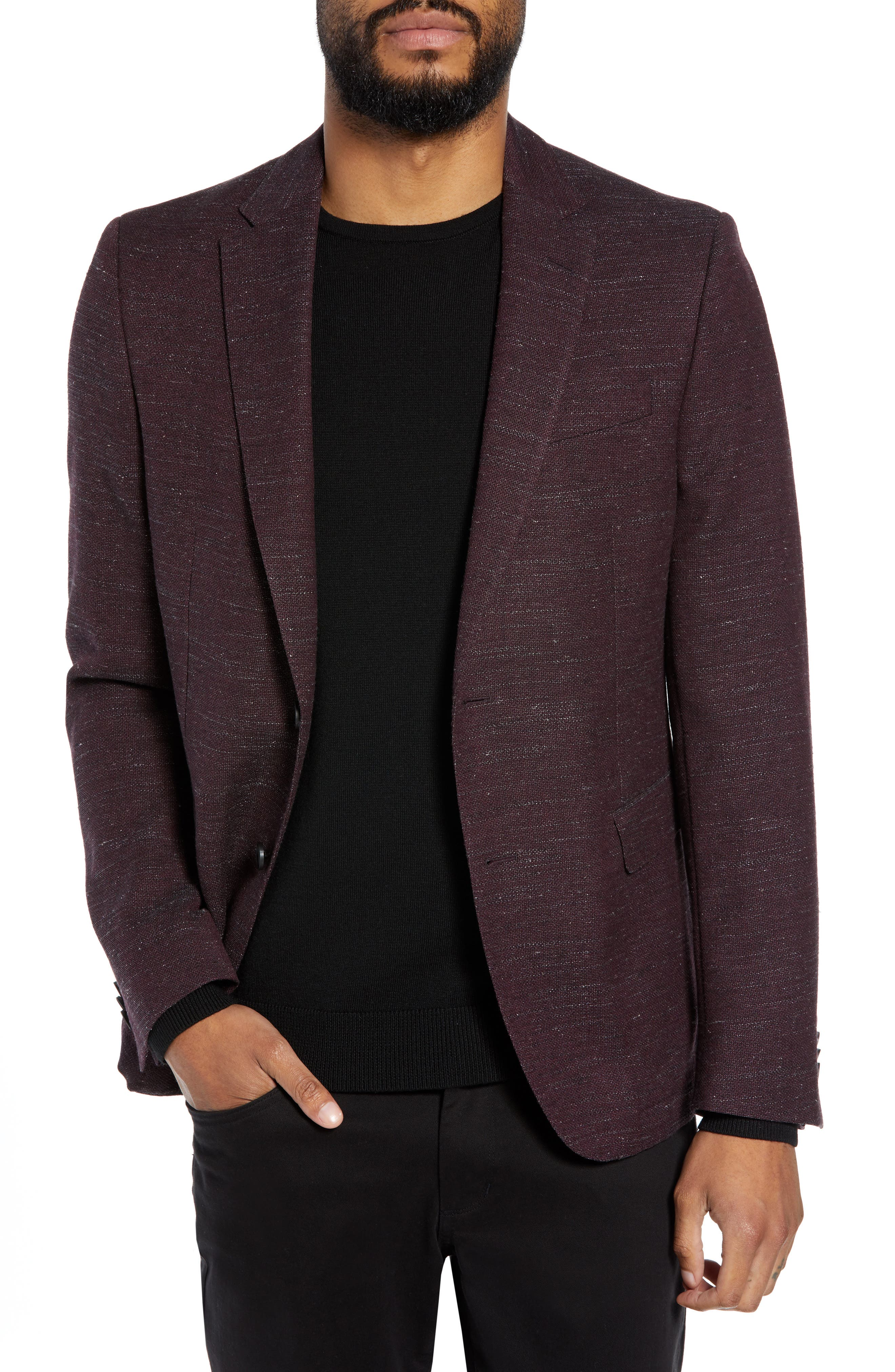 Nobis Trim Fit Wool Blend Blazer,                             Main thumbnail 1, color,                             DARK RED