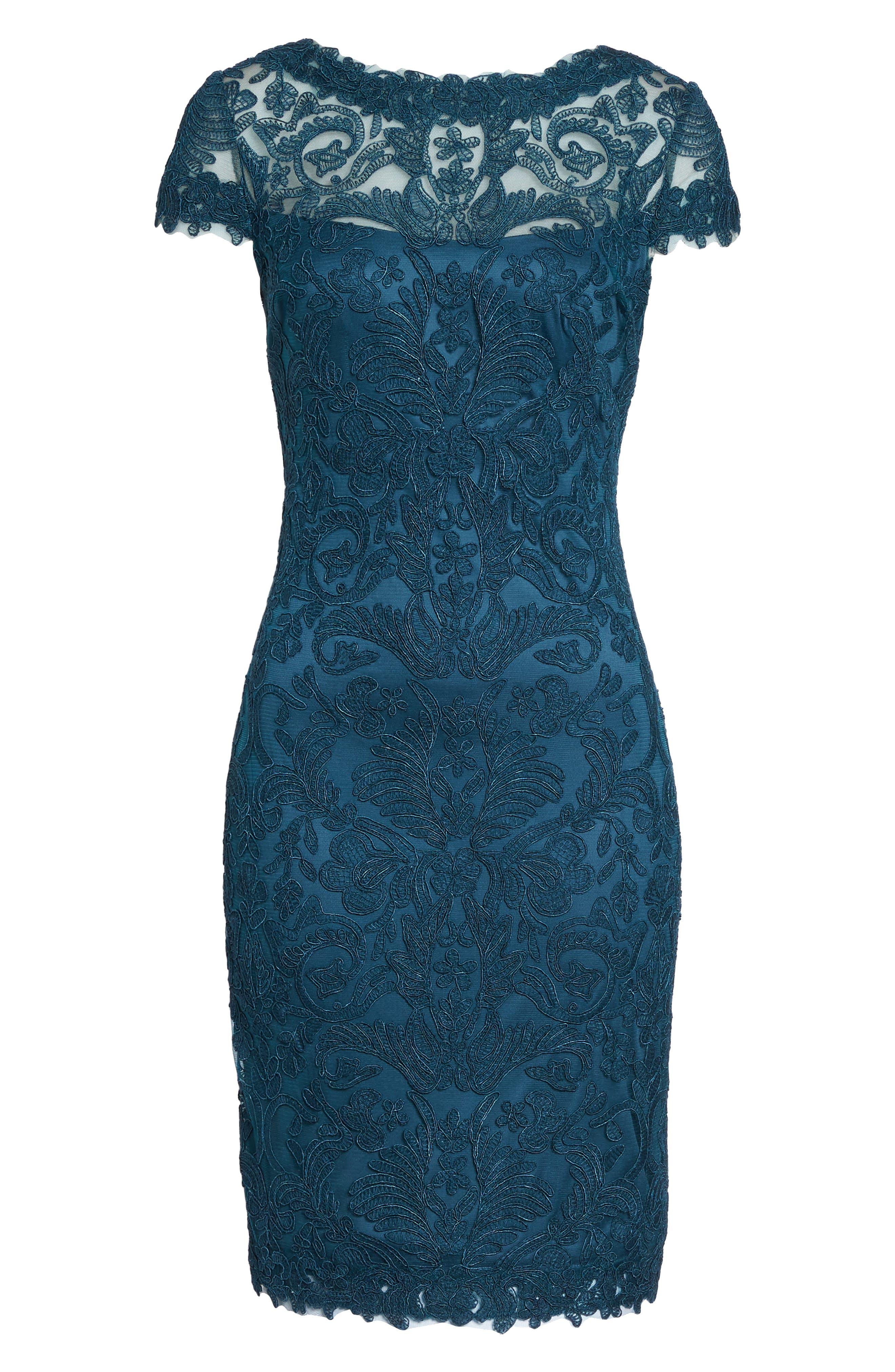 Illusion Yoke Lace Sheath Dress,                             Alternate thumbnail 102, color,