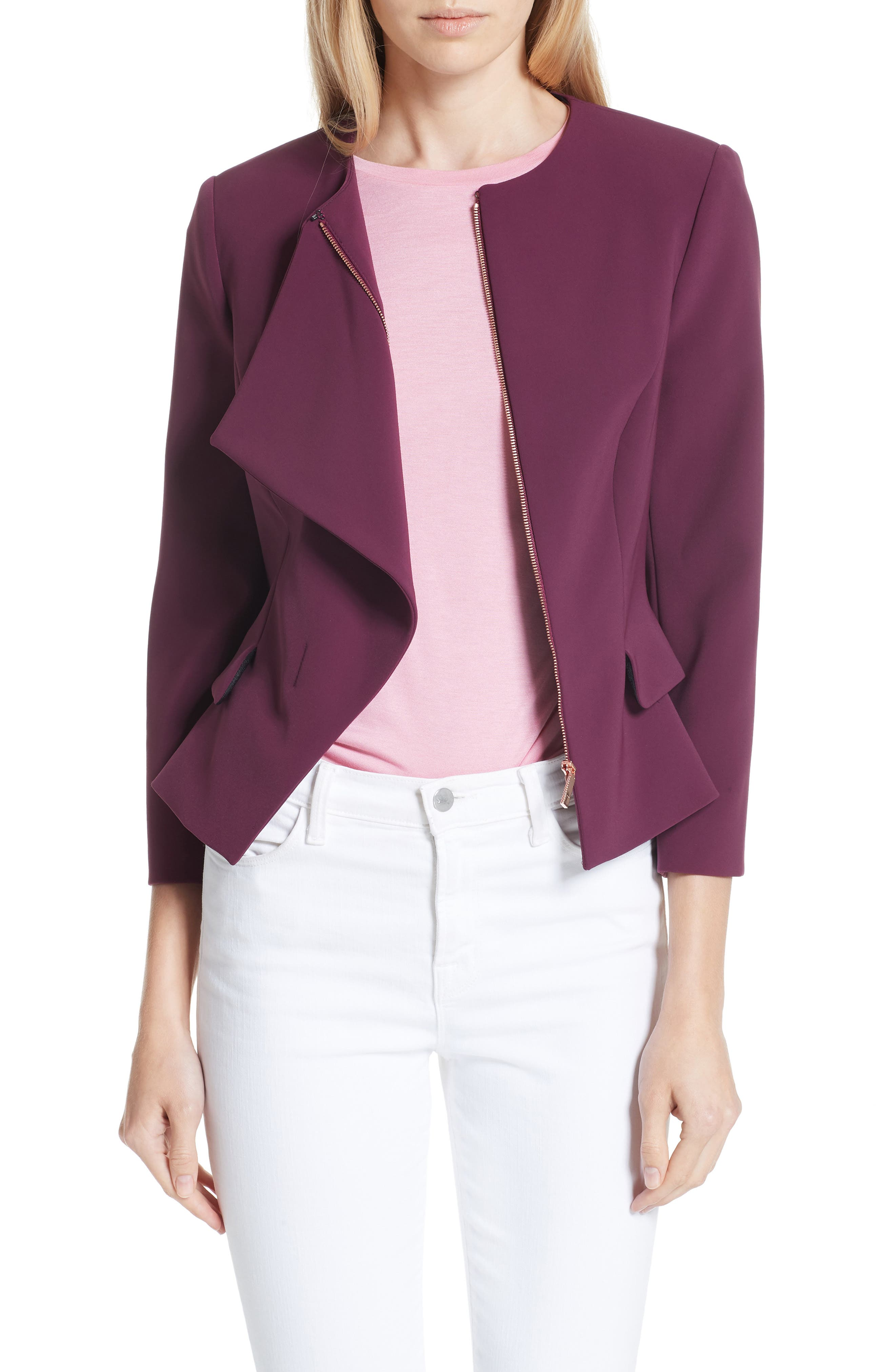 Ruffle Front Peplum Jacket,                         Main,                         color,