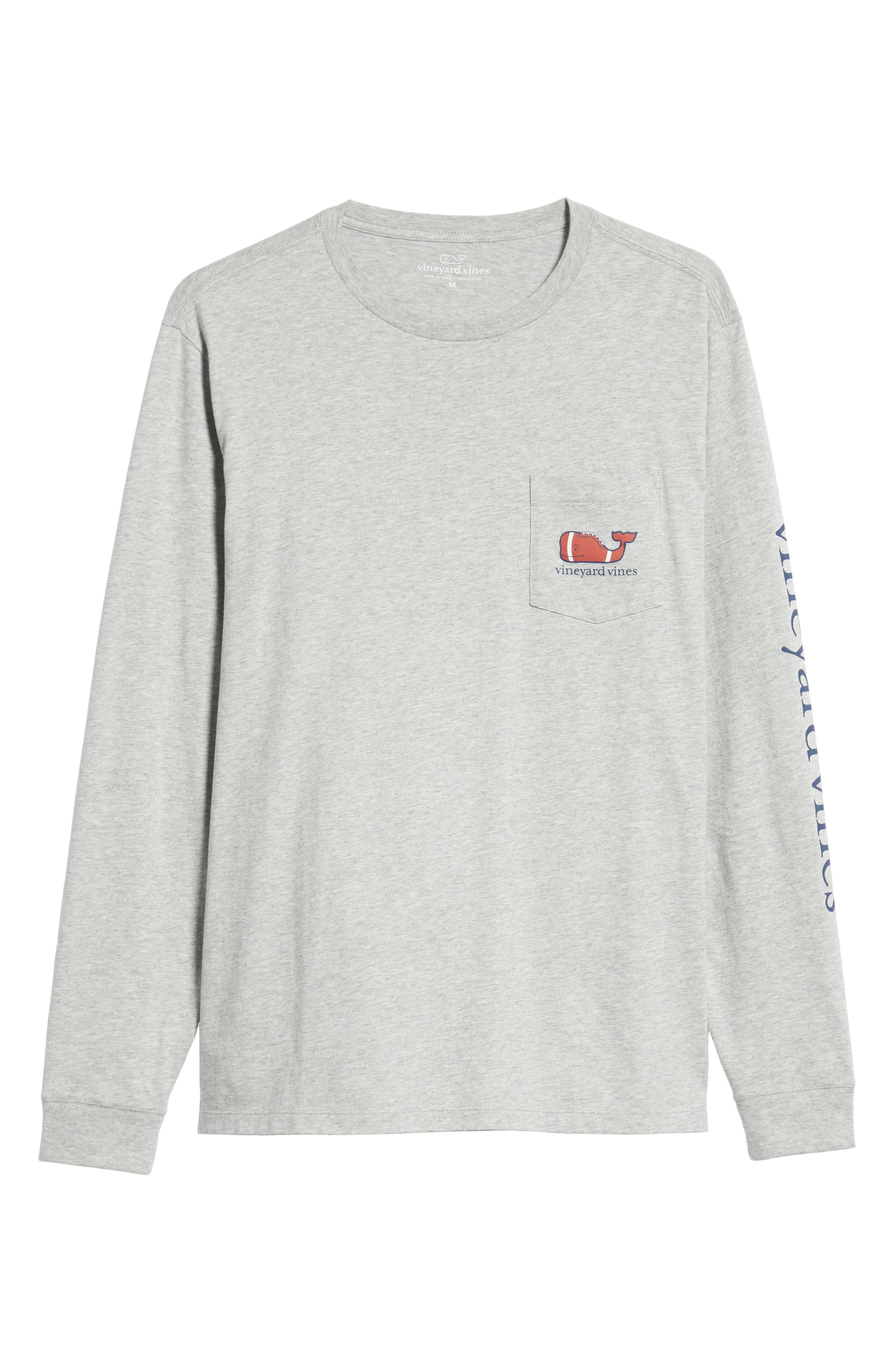 Football Whale Long Sleeve Pocket T-Shirt,                             Alternate thumbnail 6, color,                             GRAY HEATHER