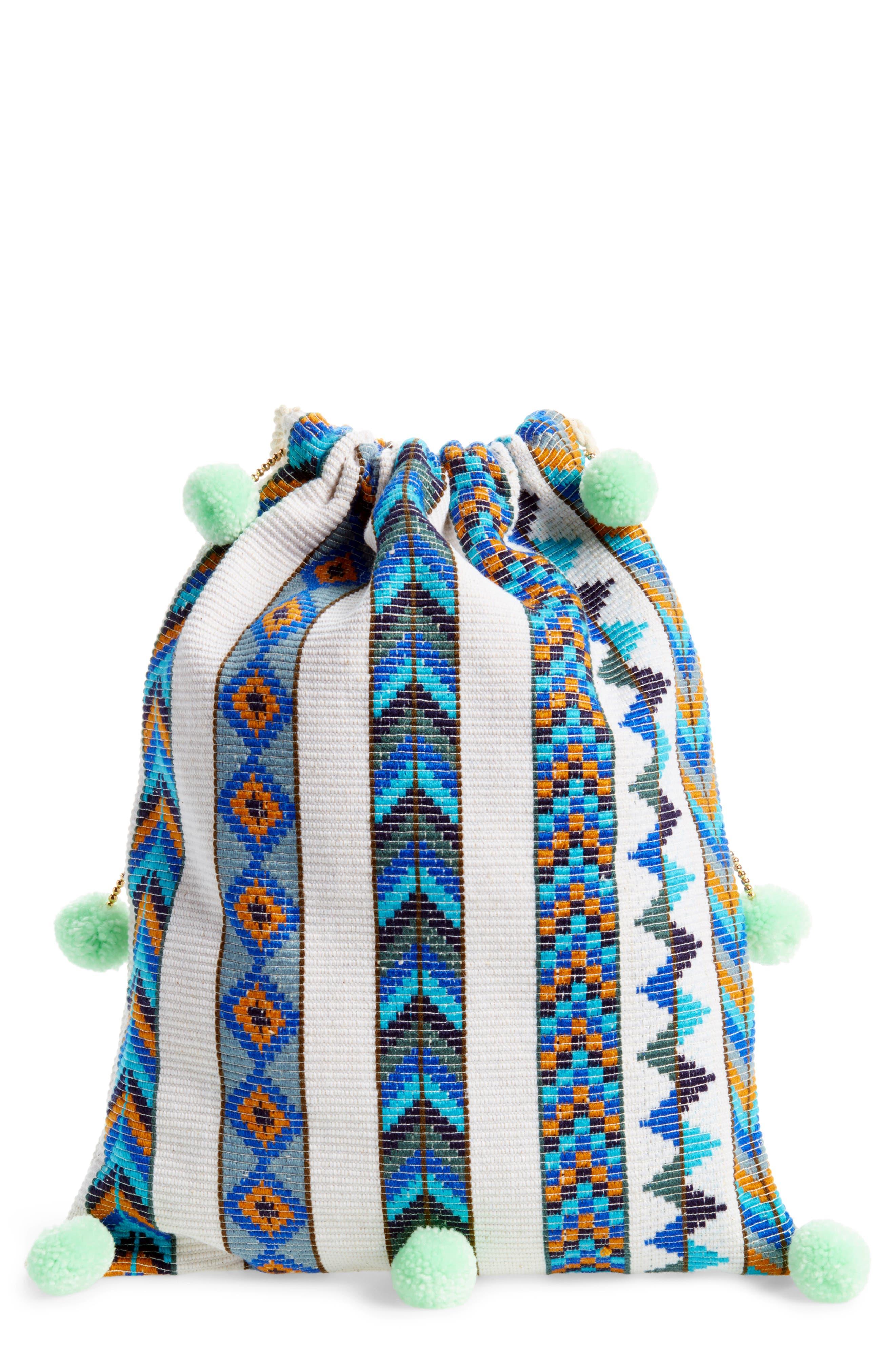 Pompom Drawstring Bag,                             Main thumbnail 2, color,
