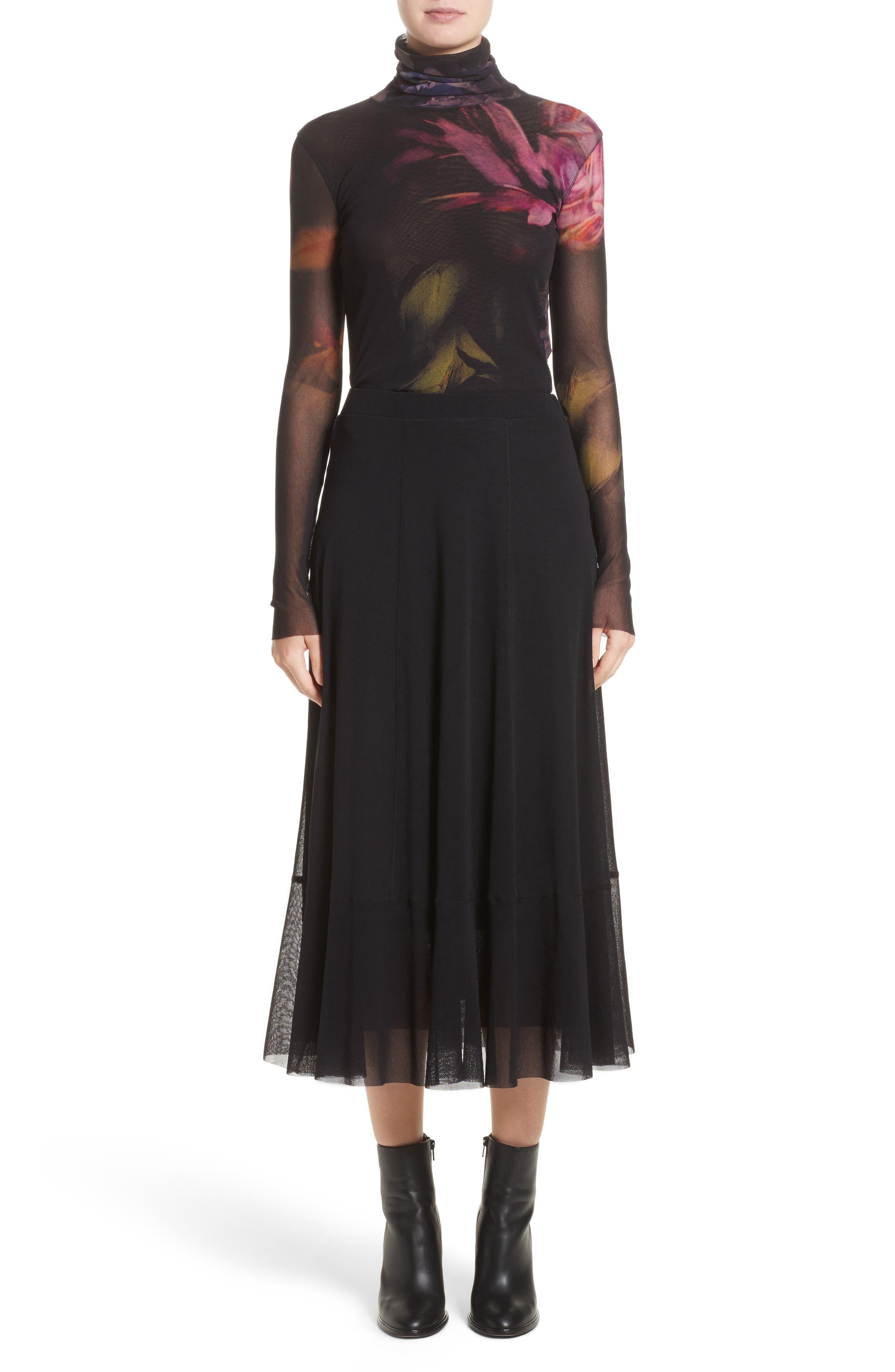 Tulle Midi Skirt,                             Alternate thumbnail 7, color,                             001