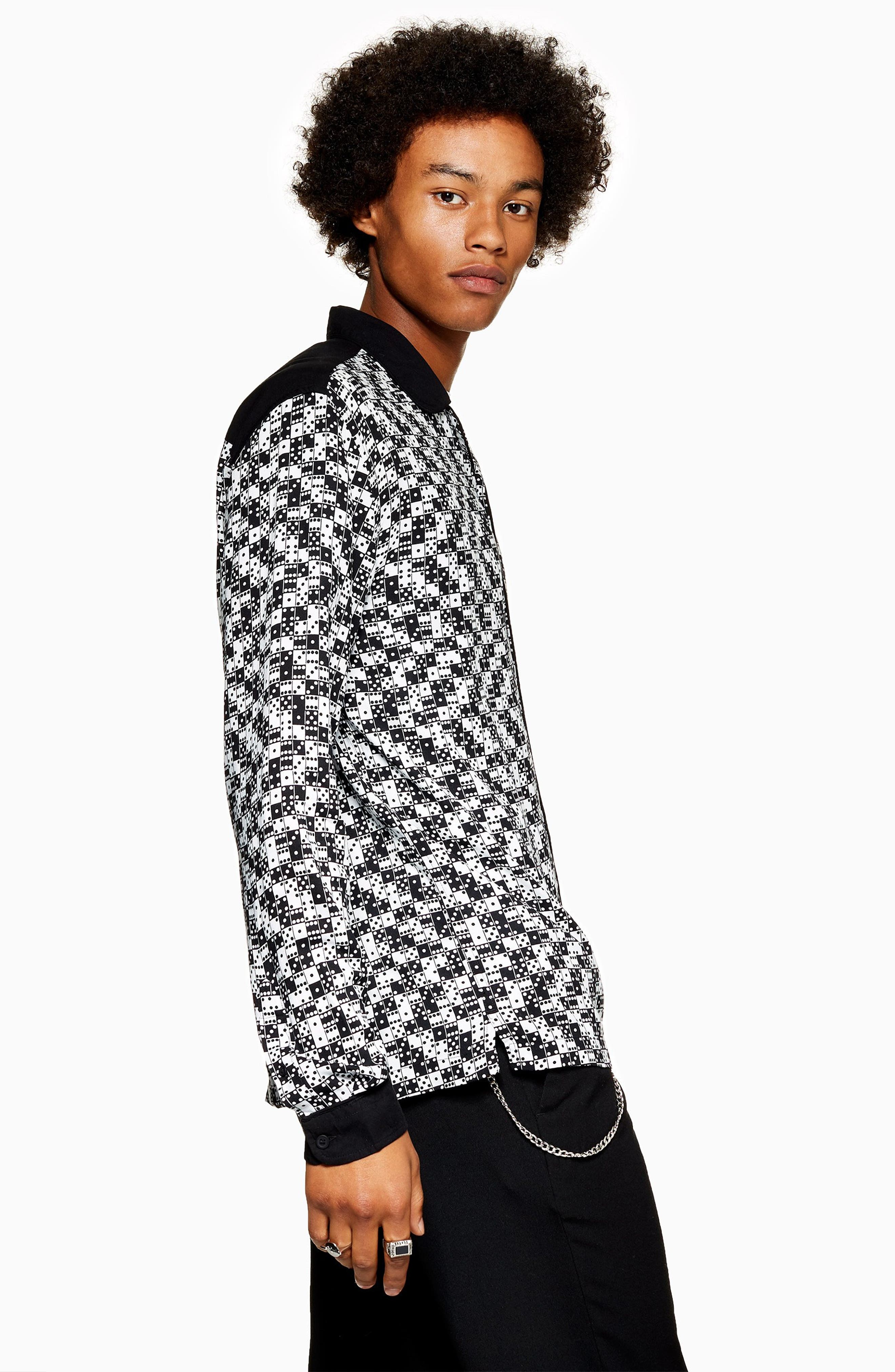 Bodders Domino Print Shirt,                             Alternate thumbnail 5, color,                             BLACK MULTI