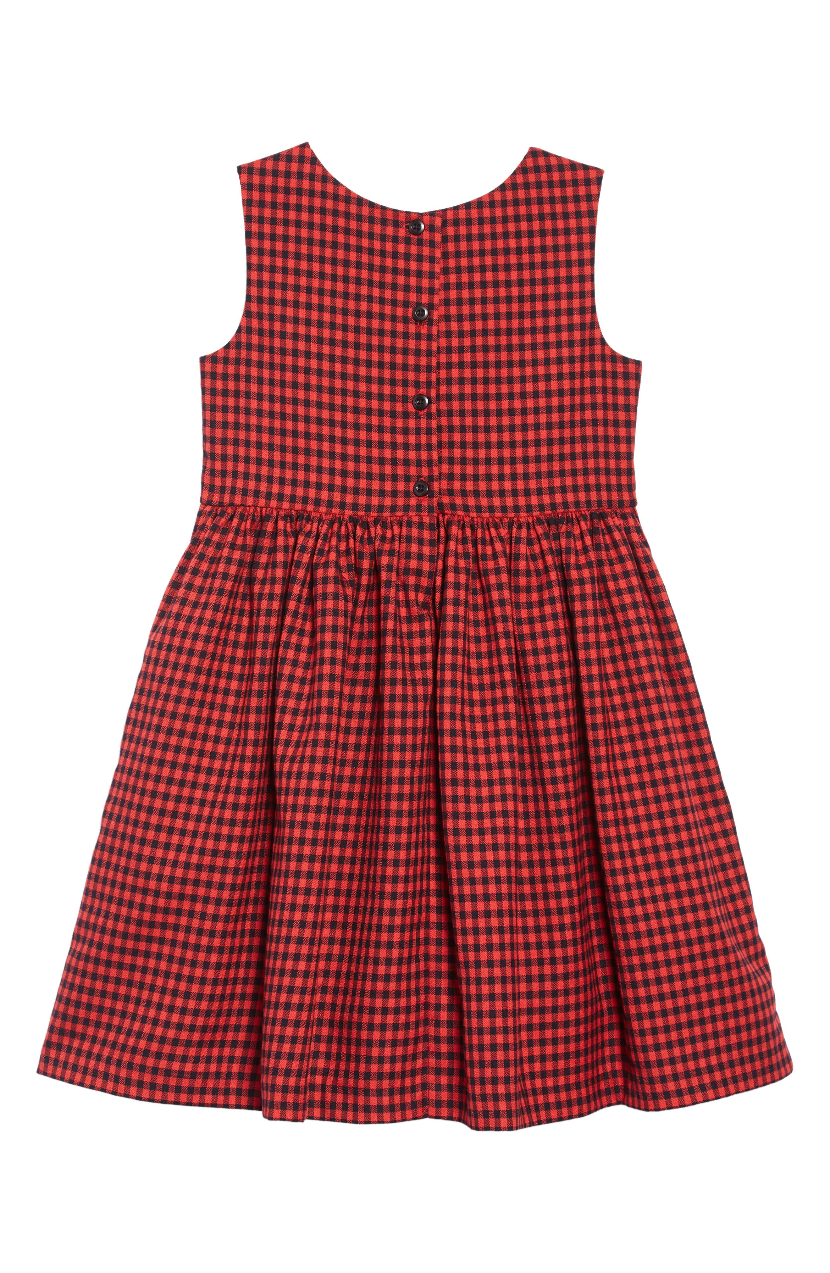 Gingham Pleated Dress,                             Alternate thumbnail 2, color,                             RED