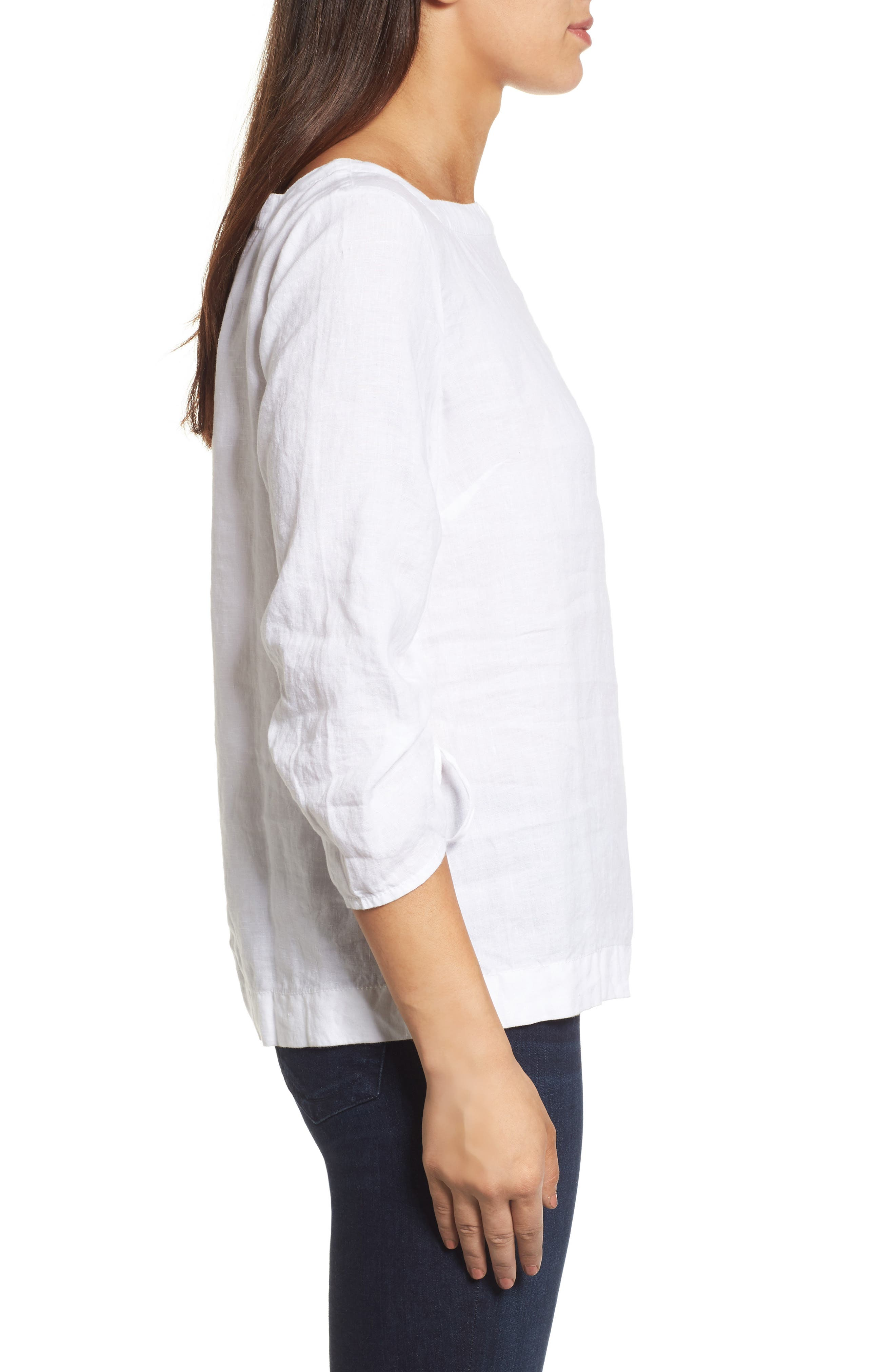 Ruched Sleeve Linen Pullover,                             Alternate thumbnail 7, color,