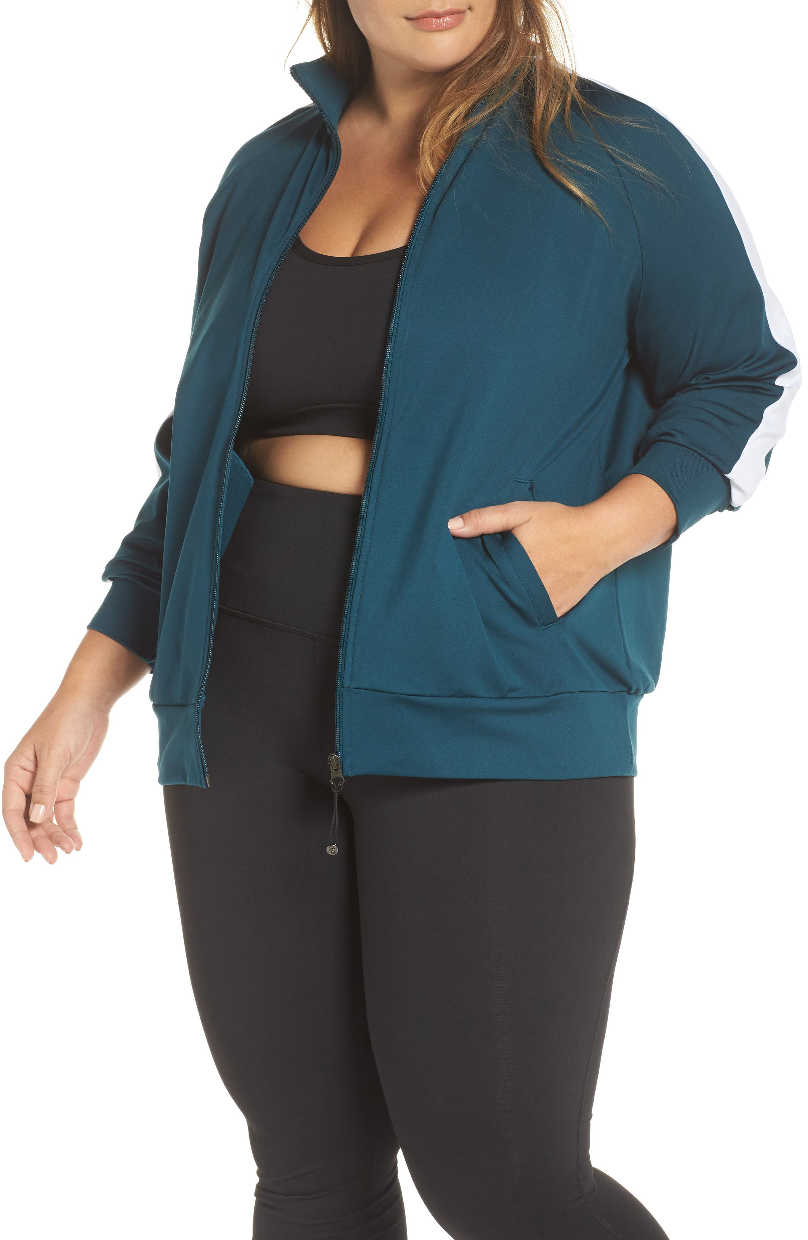 Taylor Track Jacket,                         Main,                         color, TEAL ABYSS