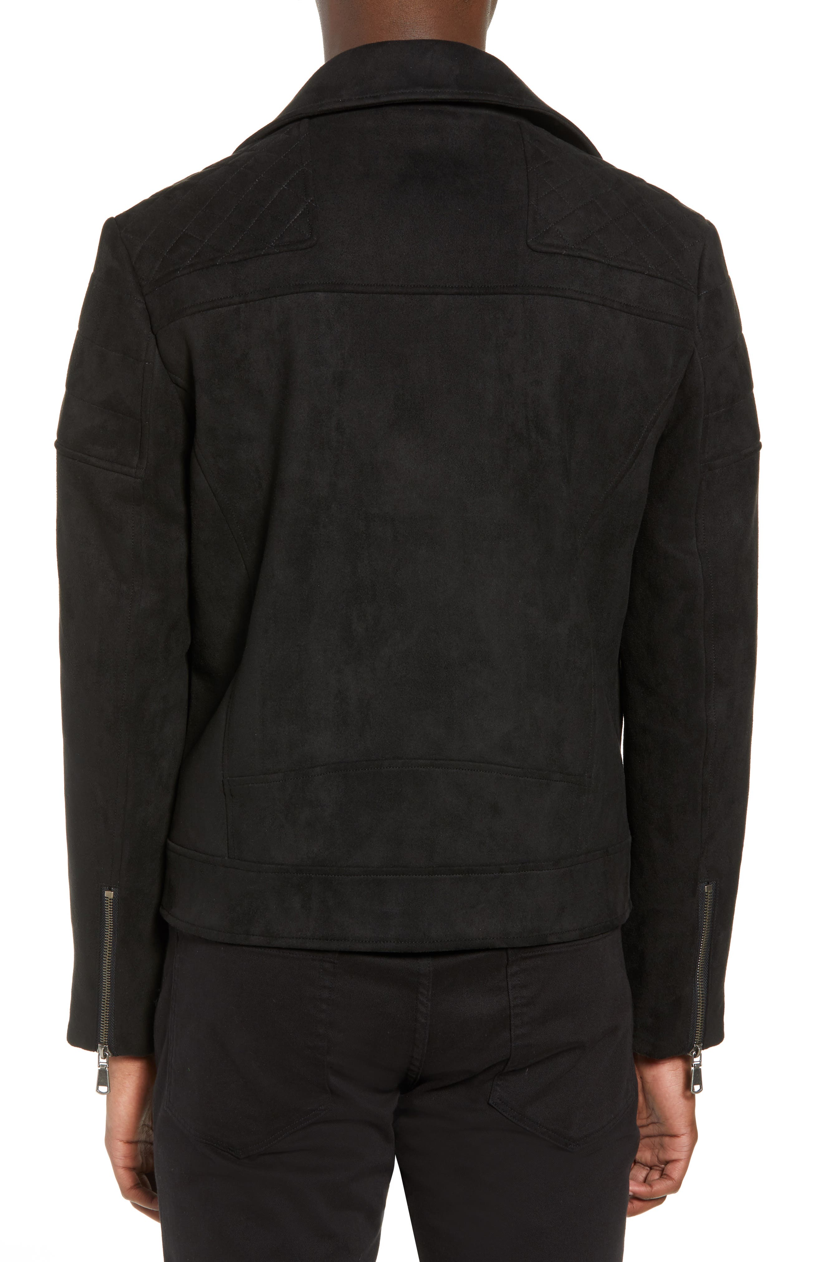 Faux Suede Biker Jacket,                             Alternate thumbnail 2, color,                             BLACK
