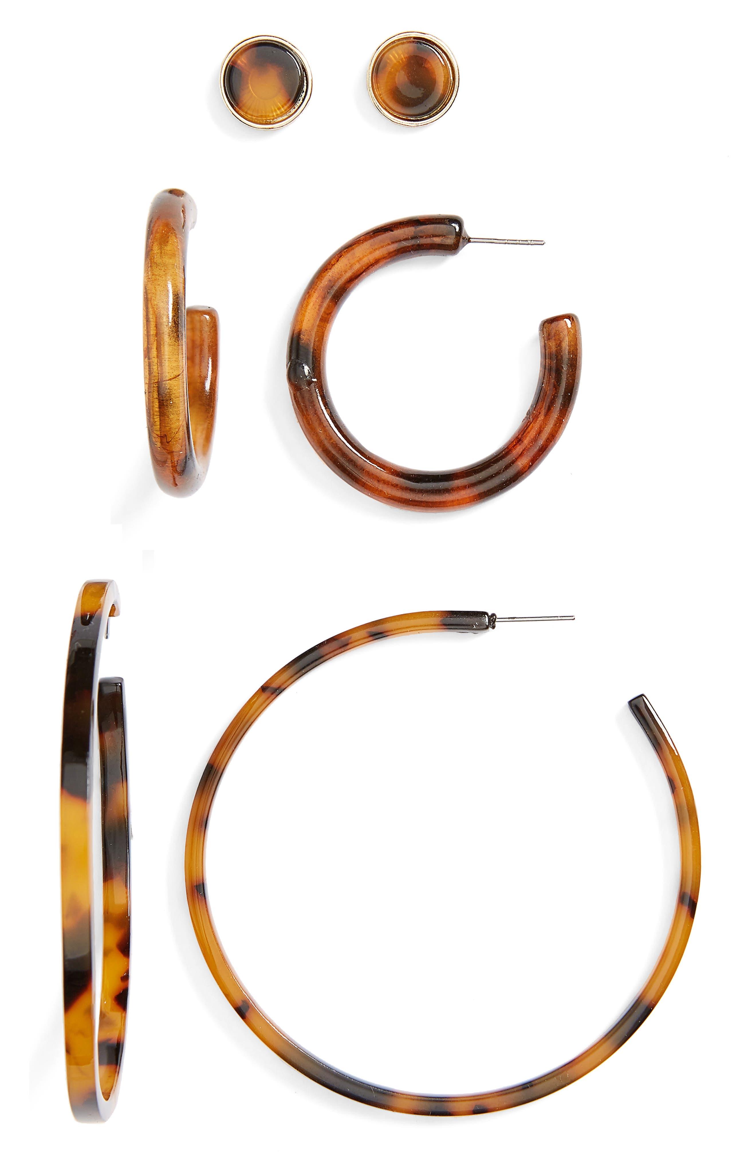 3-Pack Tortoiseshell Earrings,                         Main,                         color, GOLD/ TORT