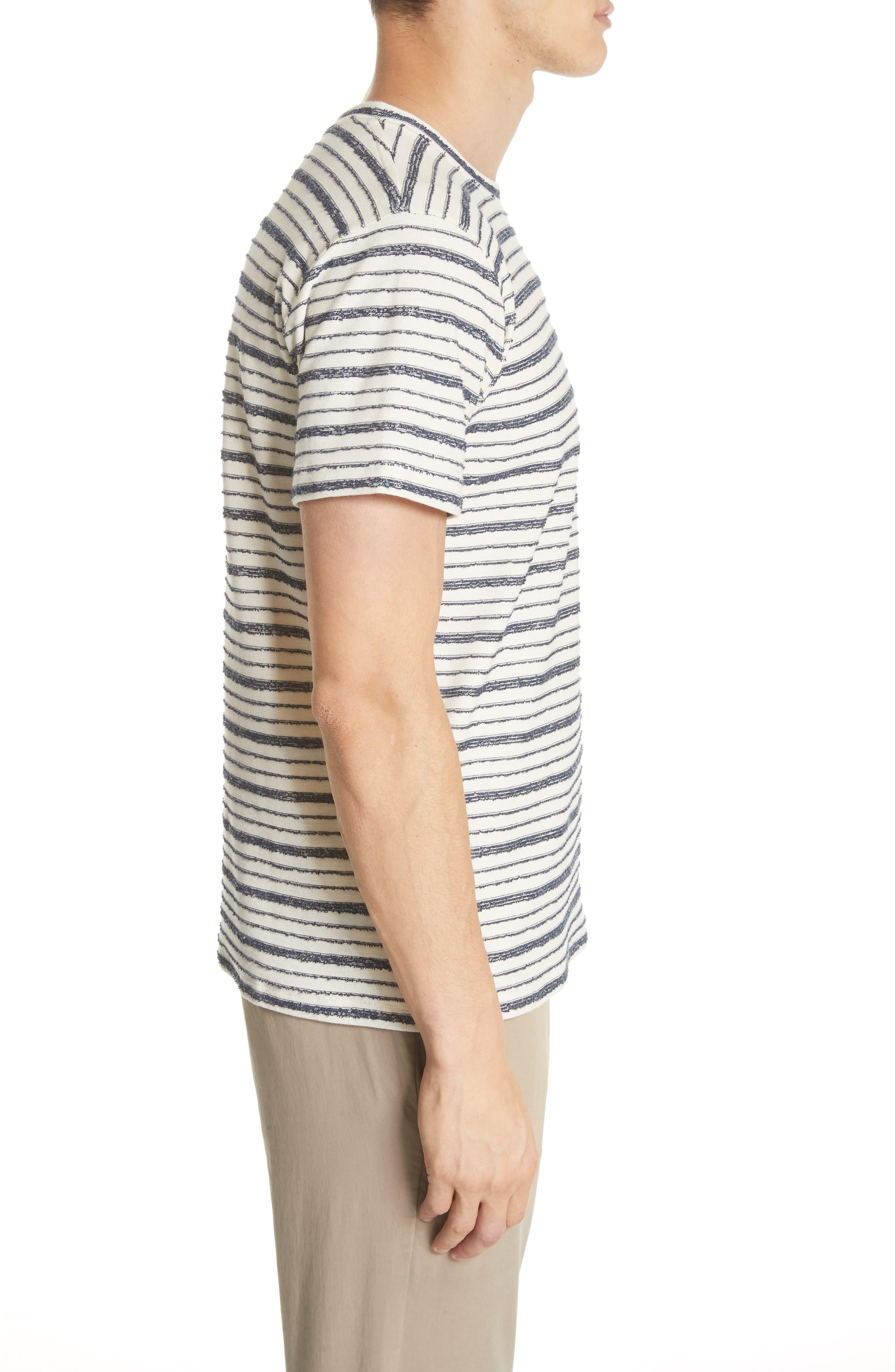 Niels Textured Stripe T-Shirt,                             Alternate thumbnail 3, color,                             DARK NAVY