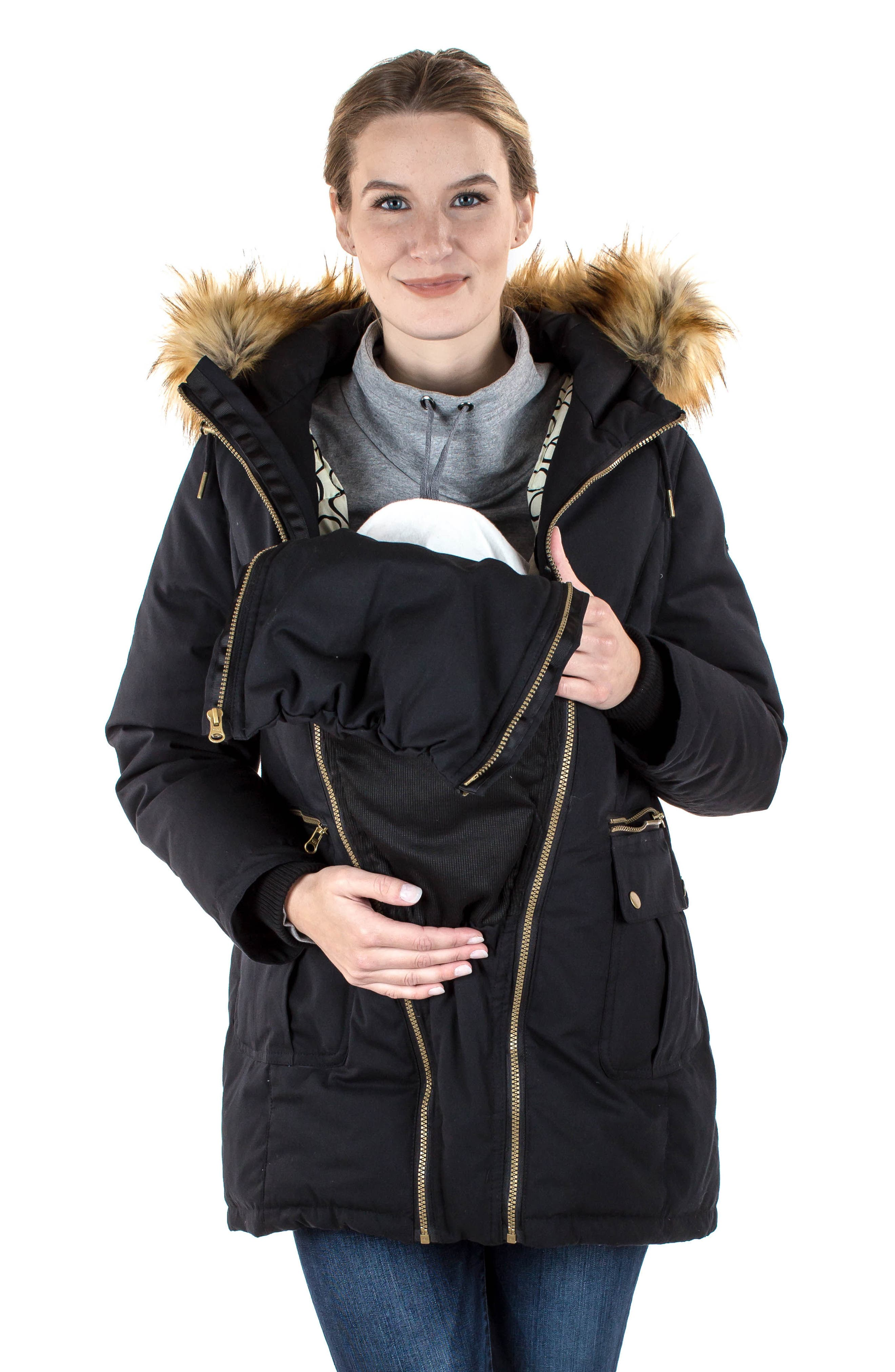 Convertible Down 3-in-1 Maternity Jacket,                             Alternate thumbnail 14, color,                             BLACK