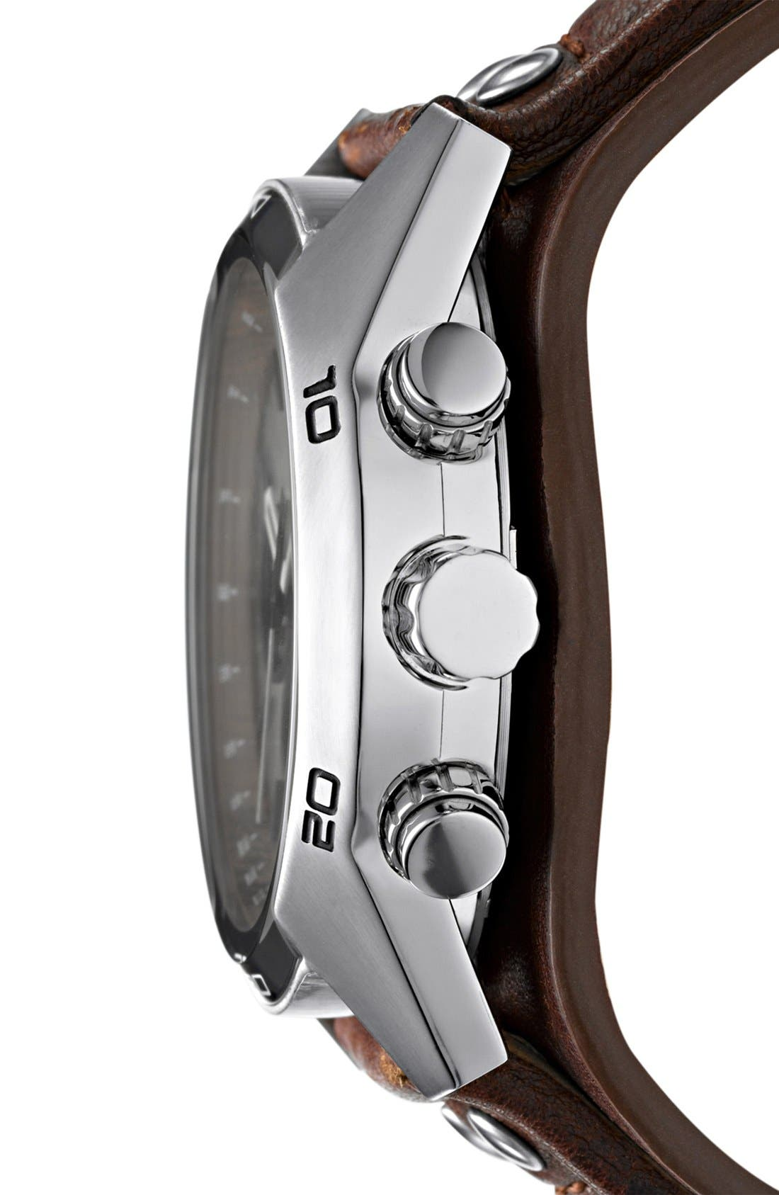 FOSSIL,                             Chronograph Cuff Watch, 44mm,                             Alternate thumbnail 3, color,                             BROWN