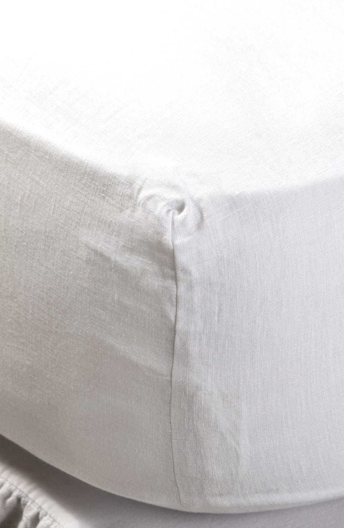 Linen Fitted Sheet,                             Main thumbnail 1, color,                             CREAM