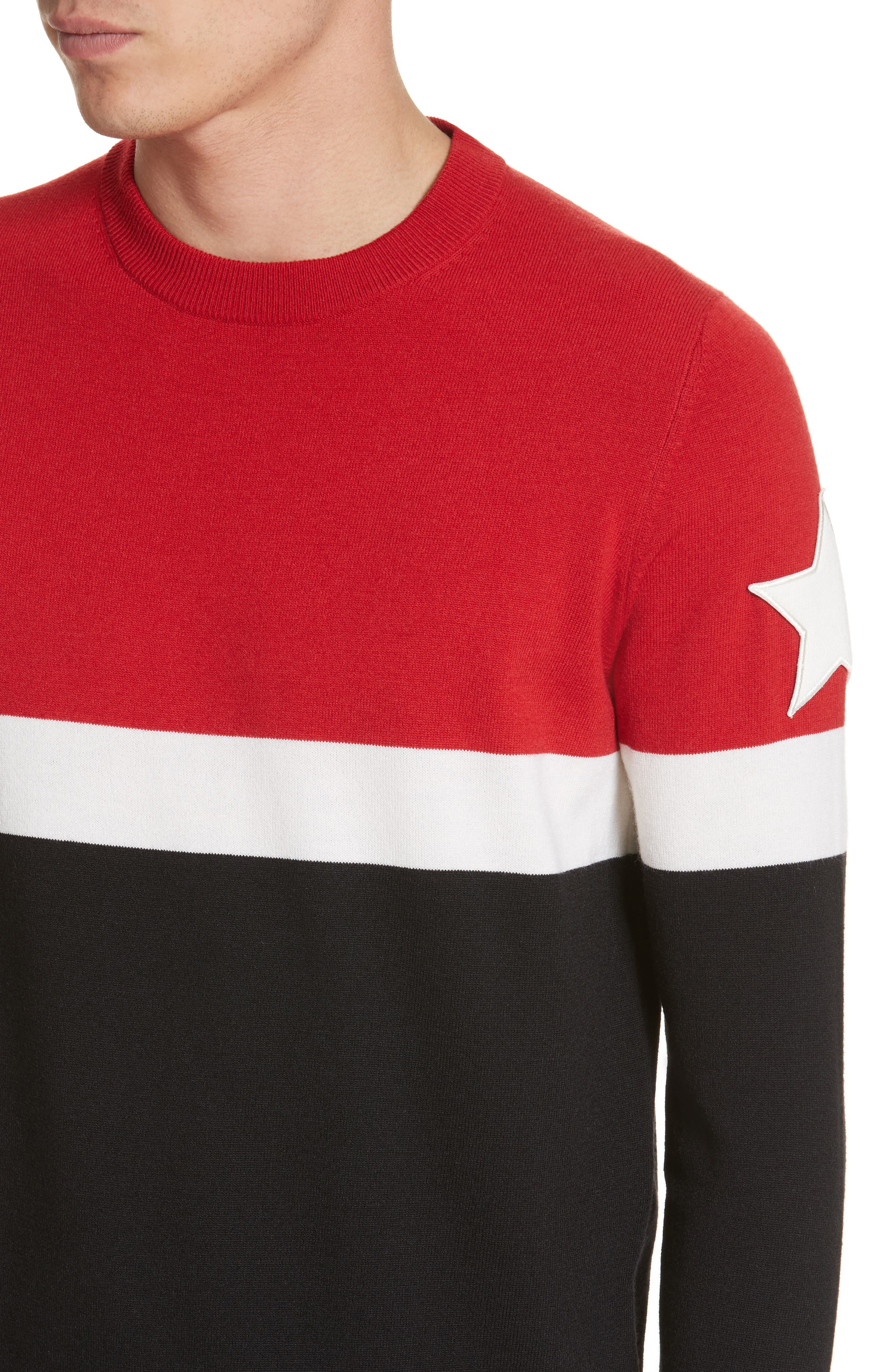 Stripe Wool Blend Pullover,                             Alternate thumbnail 4, color,                             001