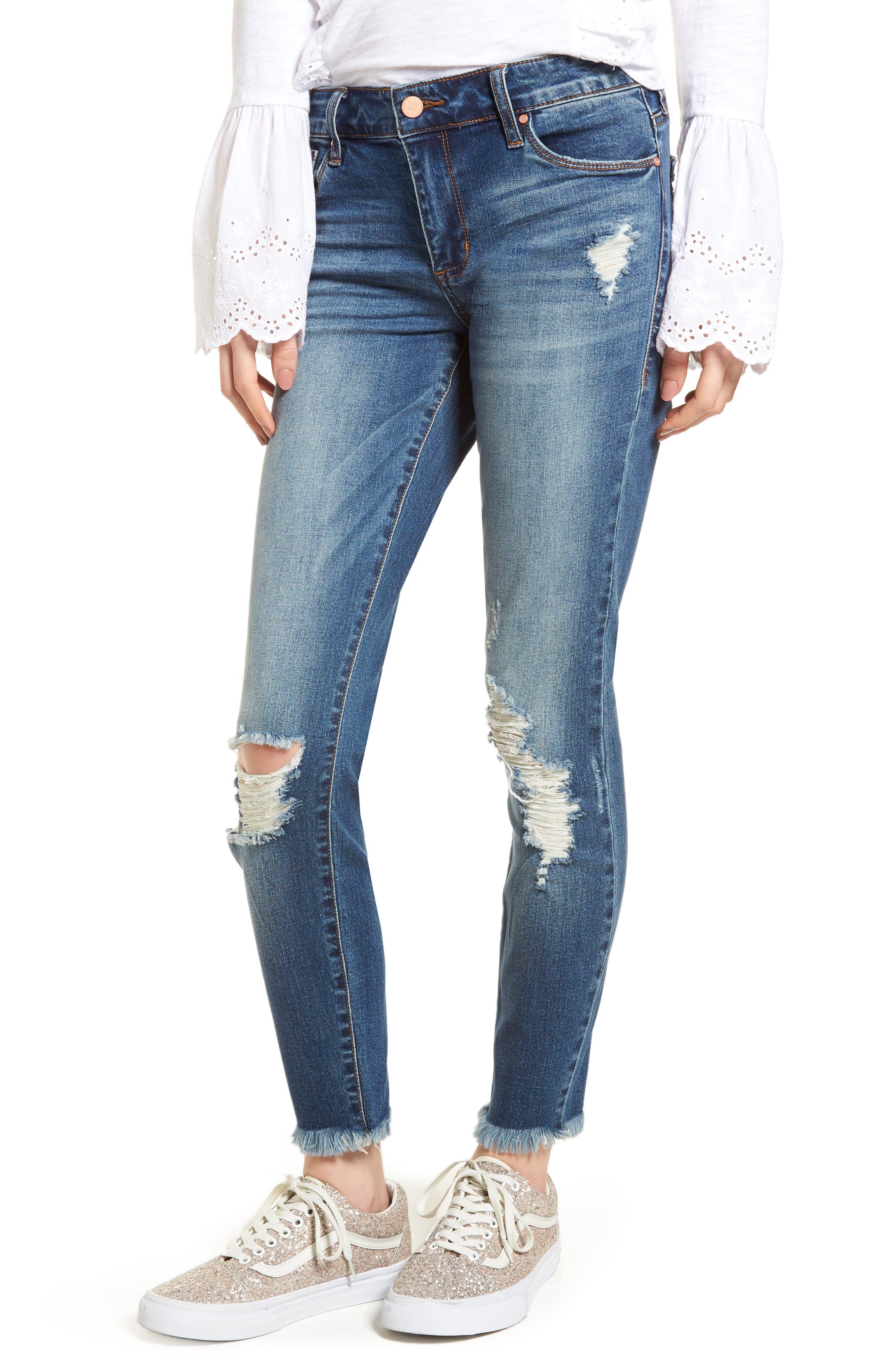 Distressed Fray Hem Skinny Jeans,                             Main thumbnail 1, color,                             420