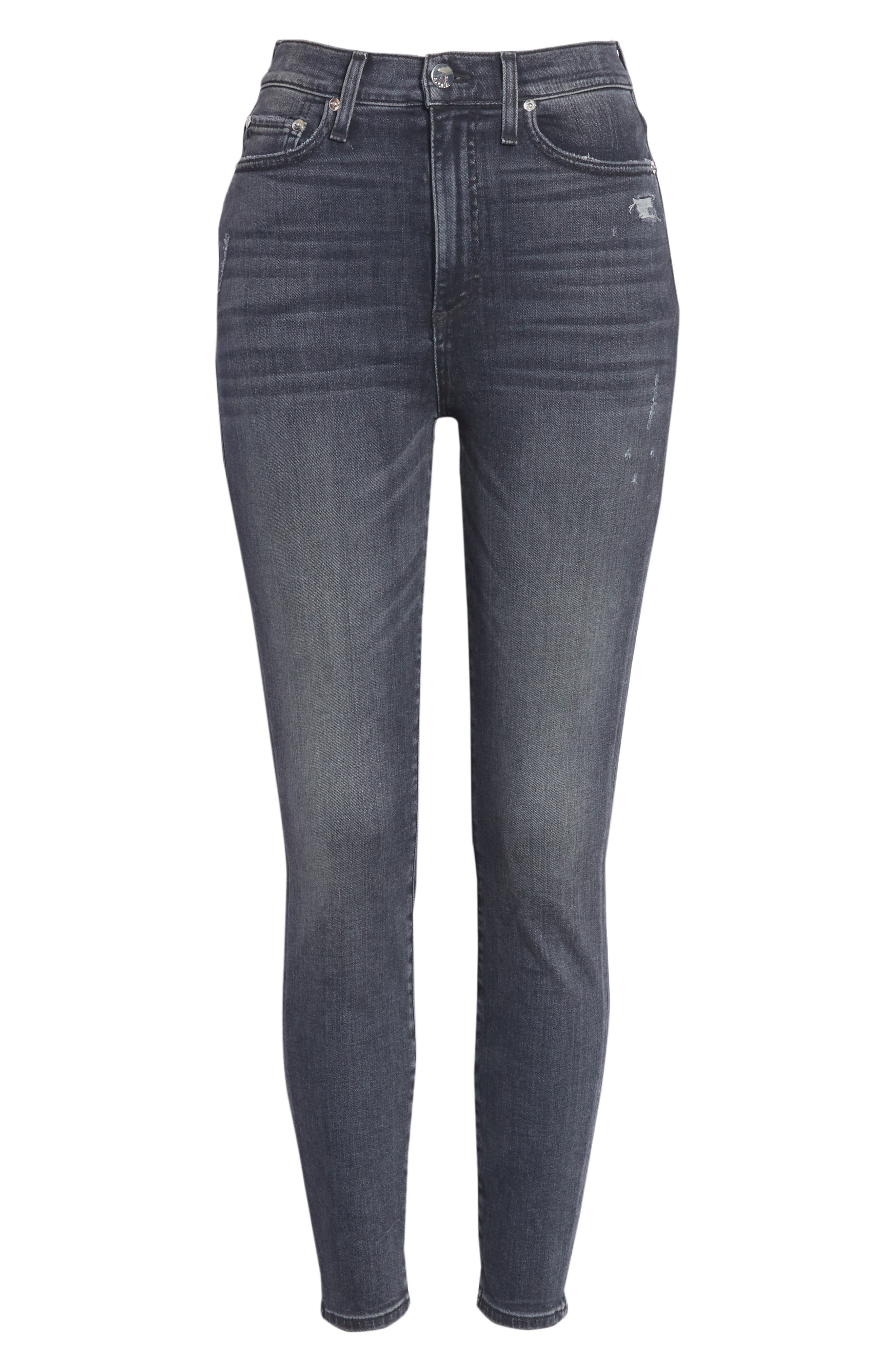 Good High Waist Ankle Skinny Jeans,                             Alternate thumbnail 6, color,                             BLACK MAGIC