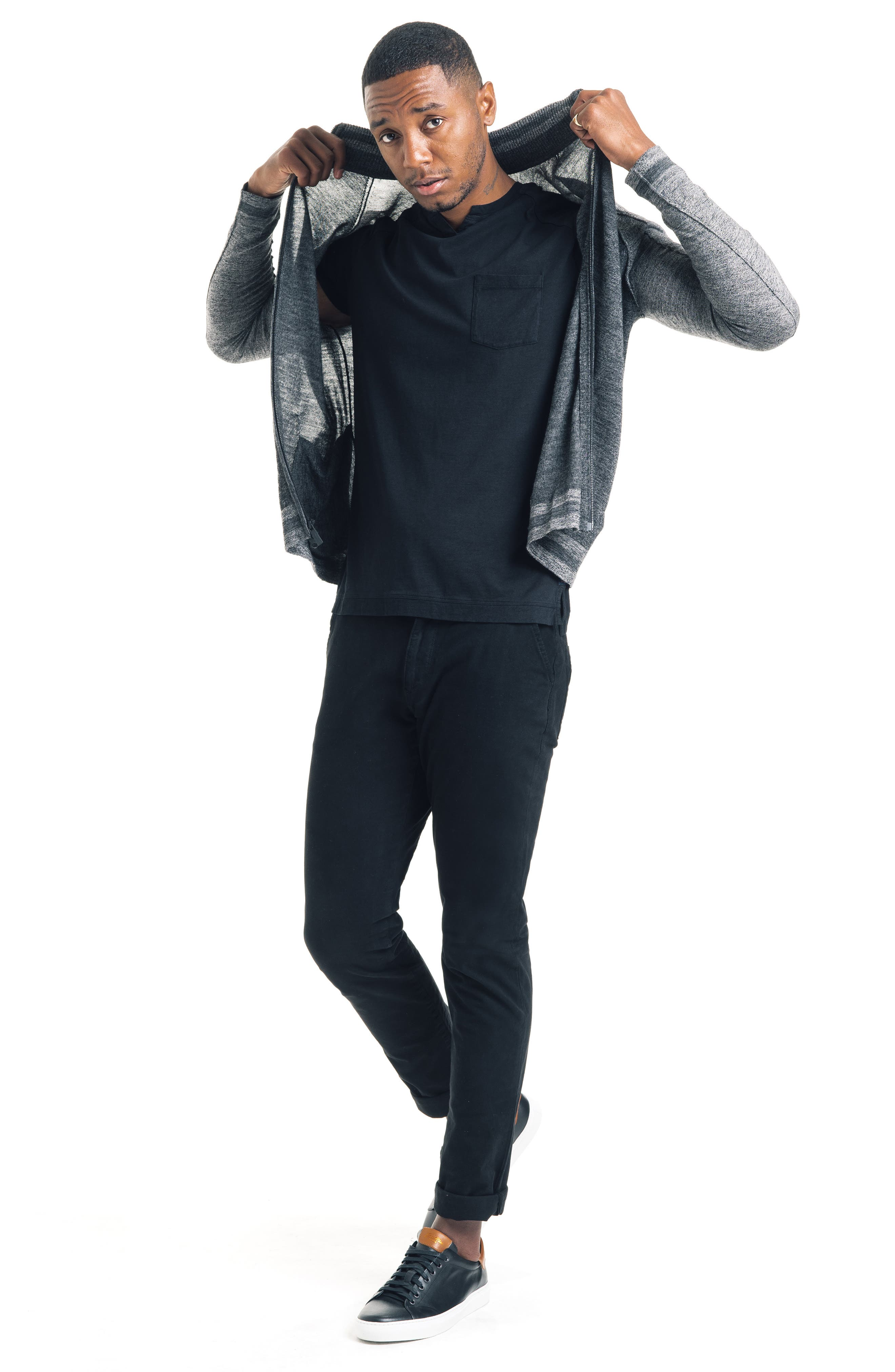 Modern Slim Fit Merino Wool Track Jacket,                             Alternate thumbnail 5, color,                             BLACK