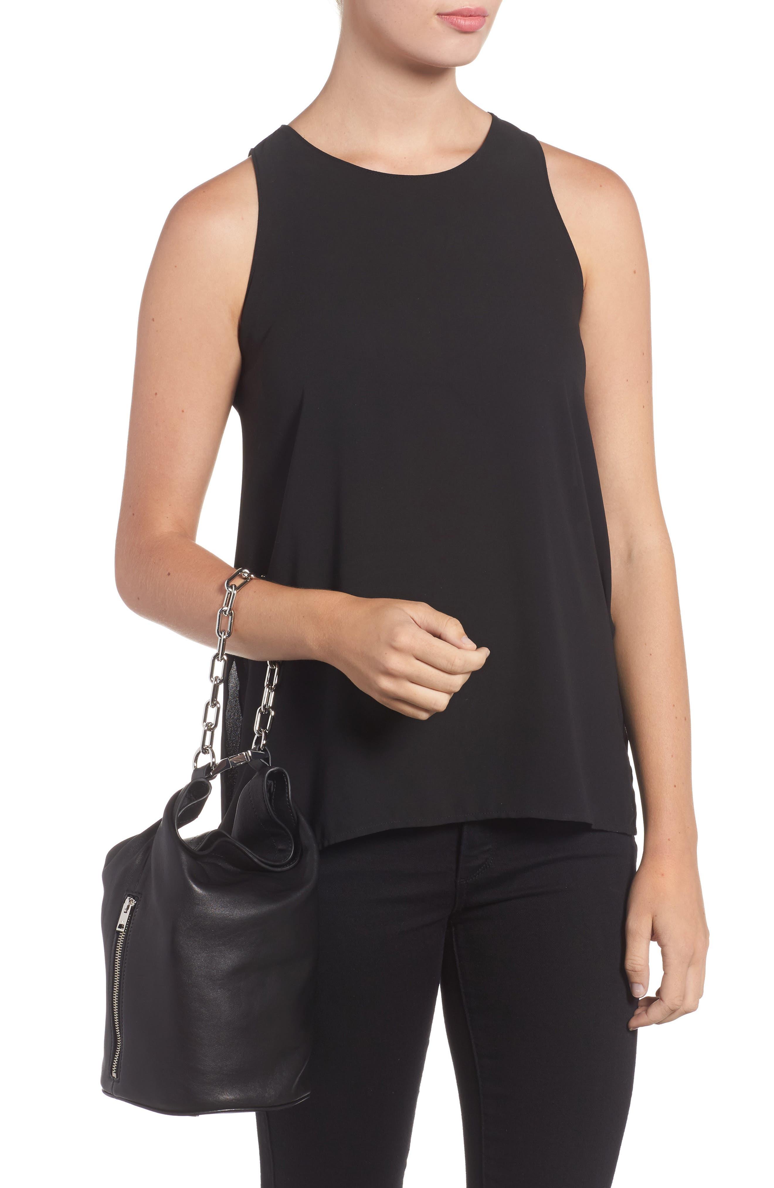 Attica Leather Bucket Bag,                             Alternate thumbnail 2, color,                             BLACK