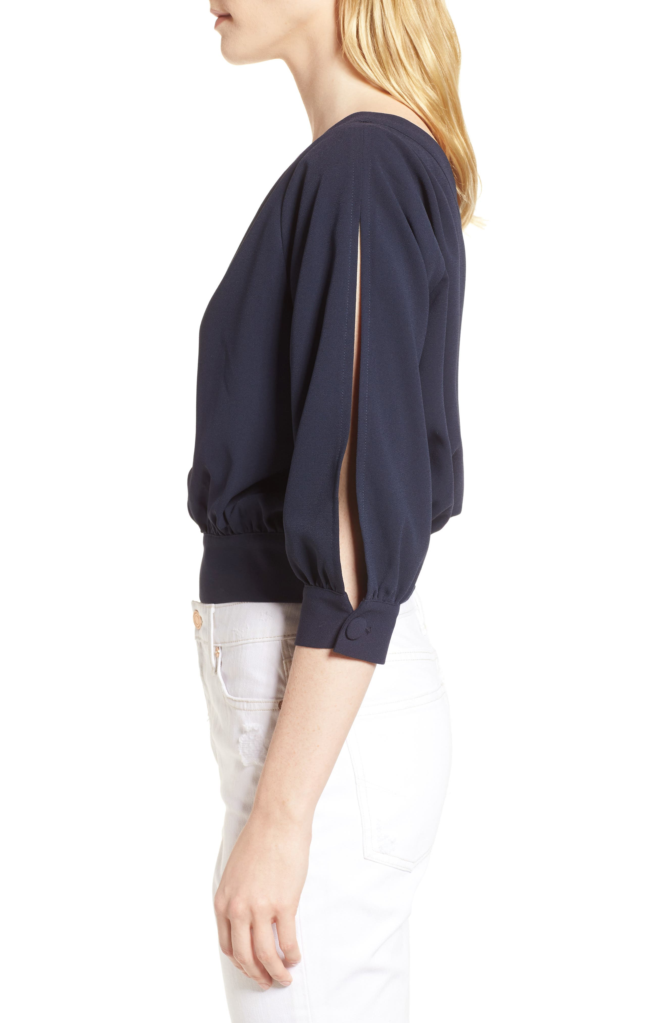 Mia One-Shoulder Side Tie Top,                             Alternate thumbnail 3, color,                             NIGHT SKY