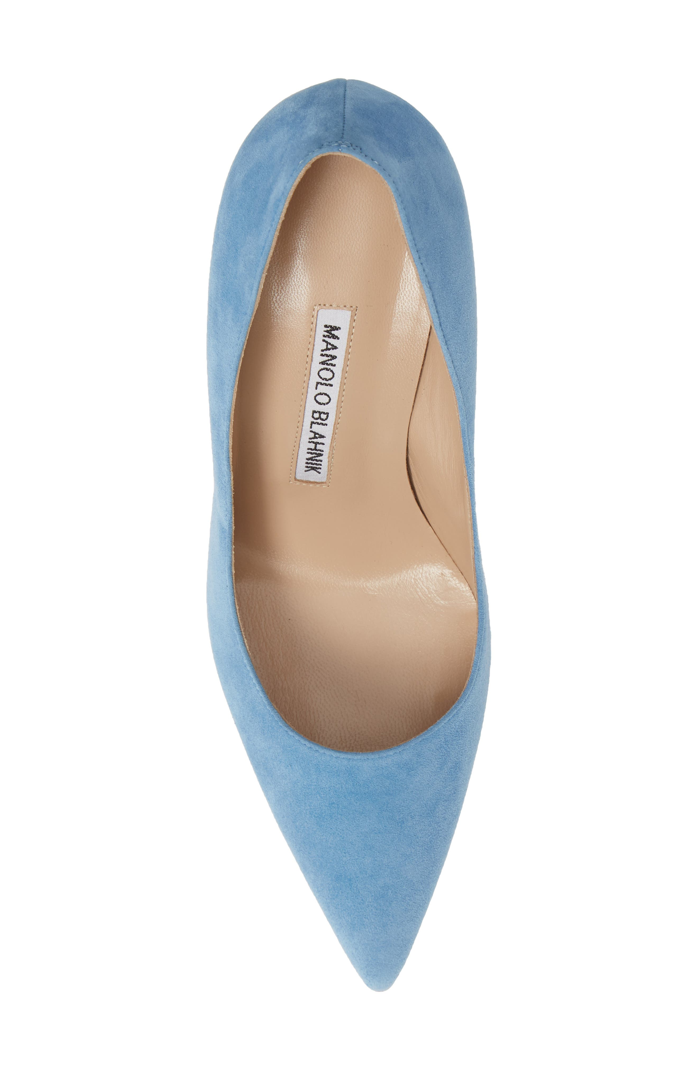 BB Pointy Toe Pump,                             Alternate thumbnail 5, color,                             POWDER BLUE SUEDE