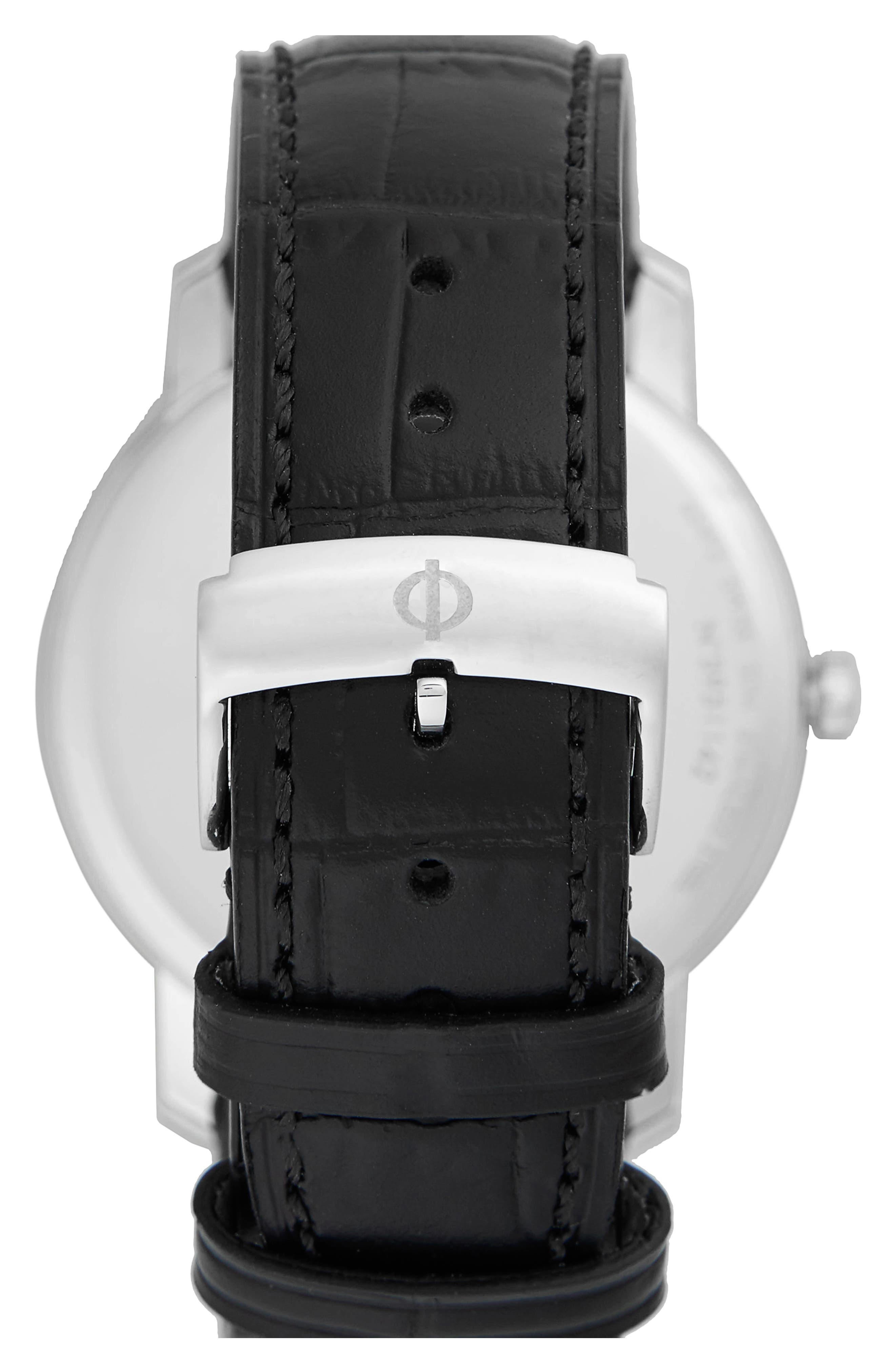 Baume & Mercier Classima Leather Strap Watch, 42mm,                             Alternate thumbnail 2, color,                             SILVER/ BLACK