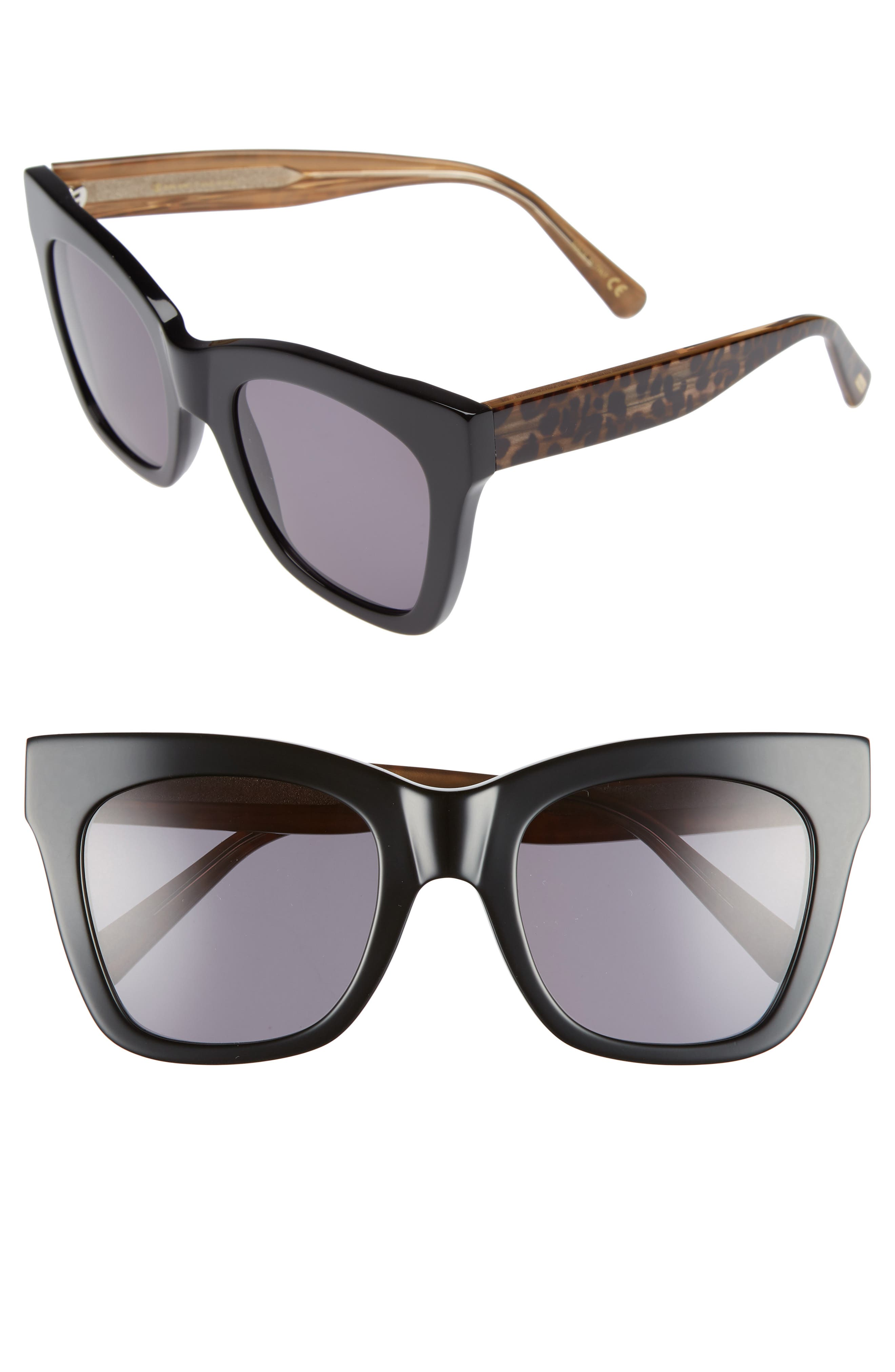 D'BLANC Beach Vida 52mm Sunglasses,                             Main thumbnail 1, color,                             BLACK CHEETAH/ GREY