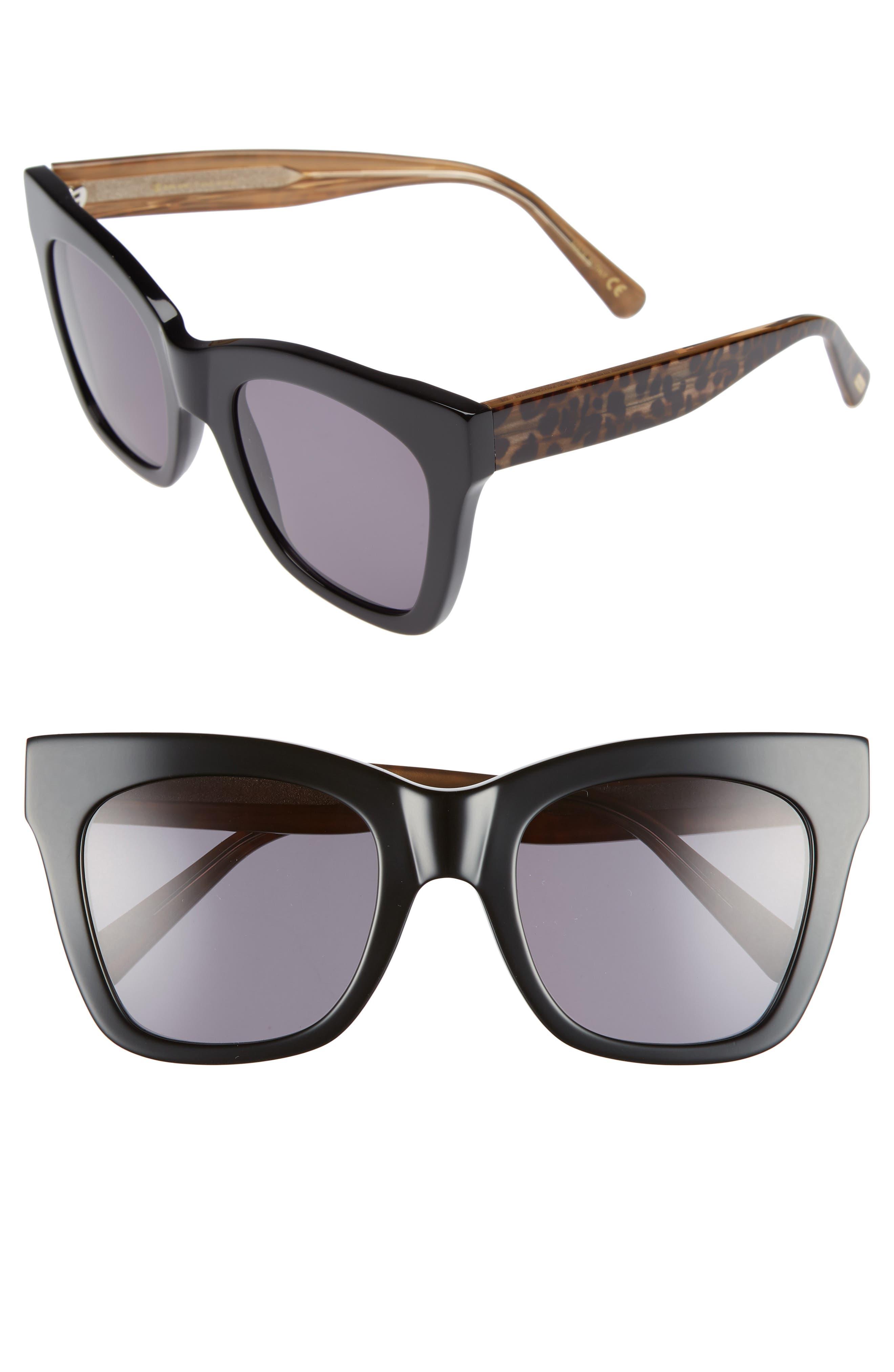 D'BLANC Beach Vida 52mm Sunglasses,                         Main,                         color, BLACK CHEETAH/ GREY