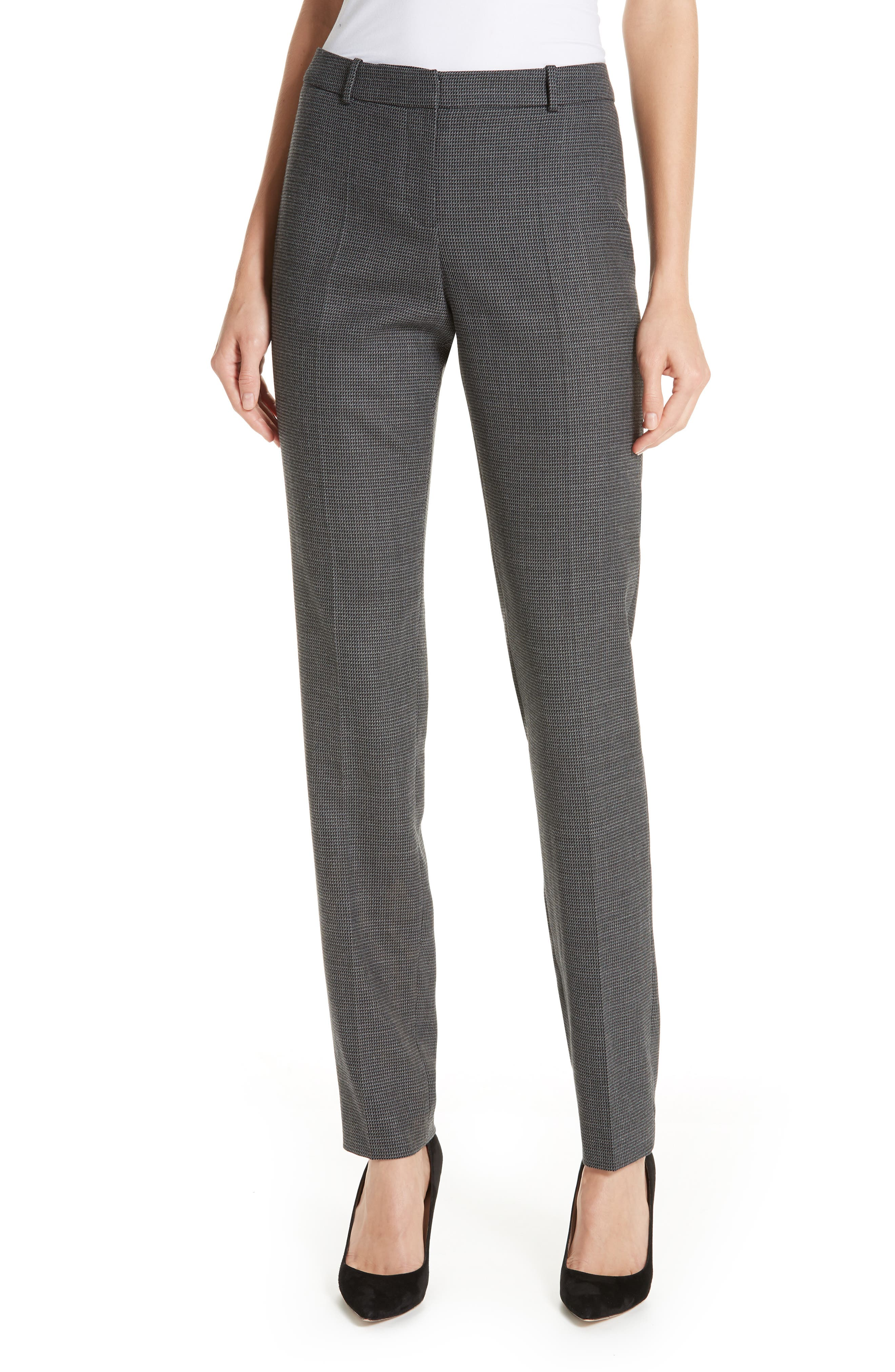 Tilunana Geometric Stretch Wool Blend Suit Trousers,                         Main,                         color, GREY FANTASY