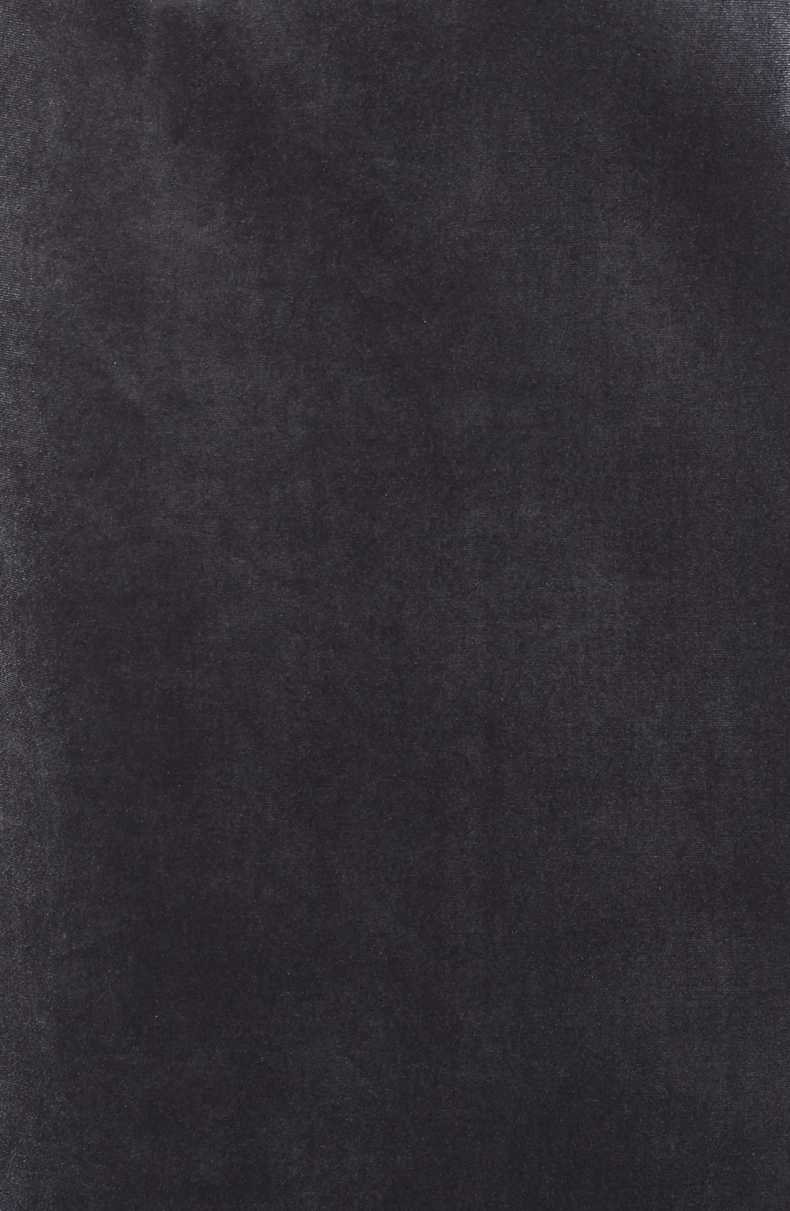 Bow One-Shoulder Velvet Gown,                             Alternate thumbnail 6, color,                             STEEL