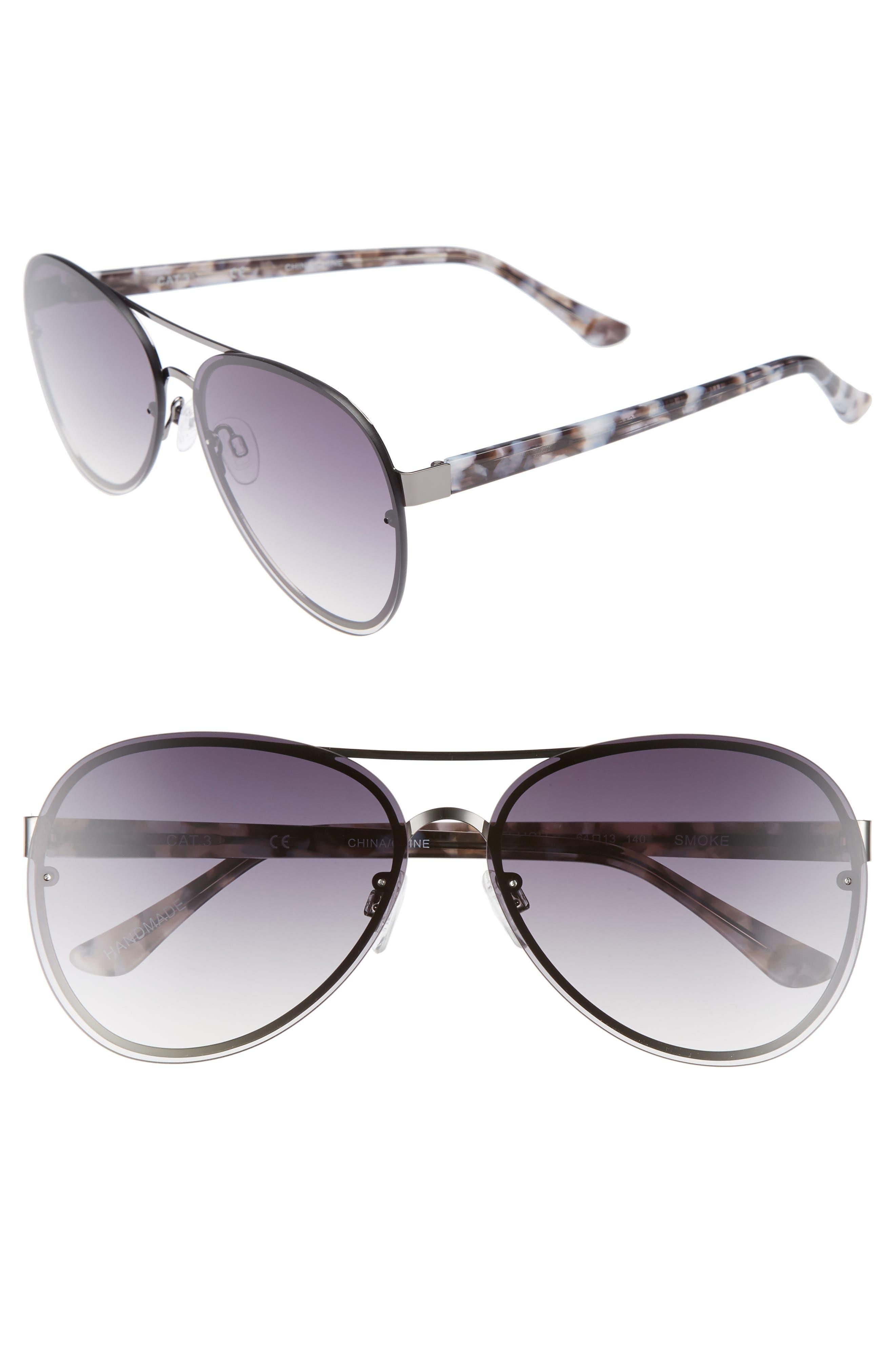 Straight Flush 64mm Aviator Sunglasses,                         Main,                         color, SOLID SMOKE