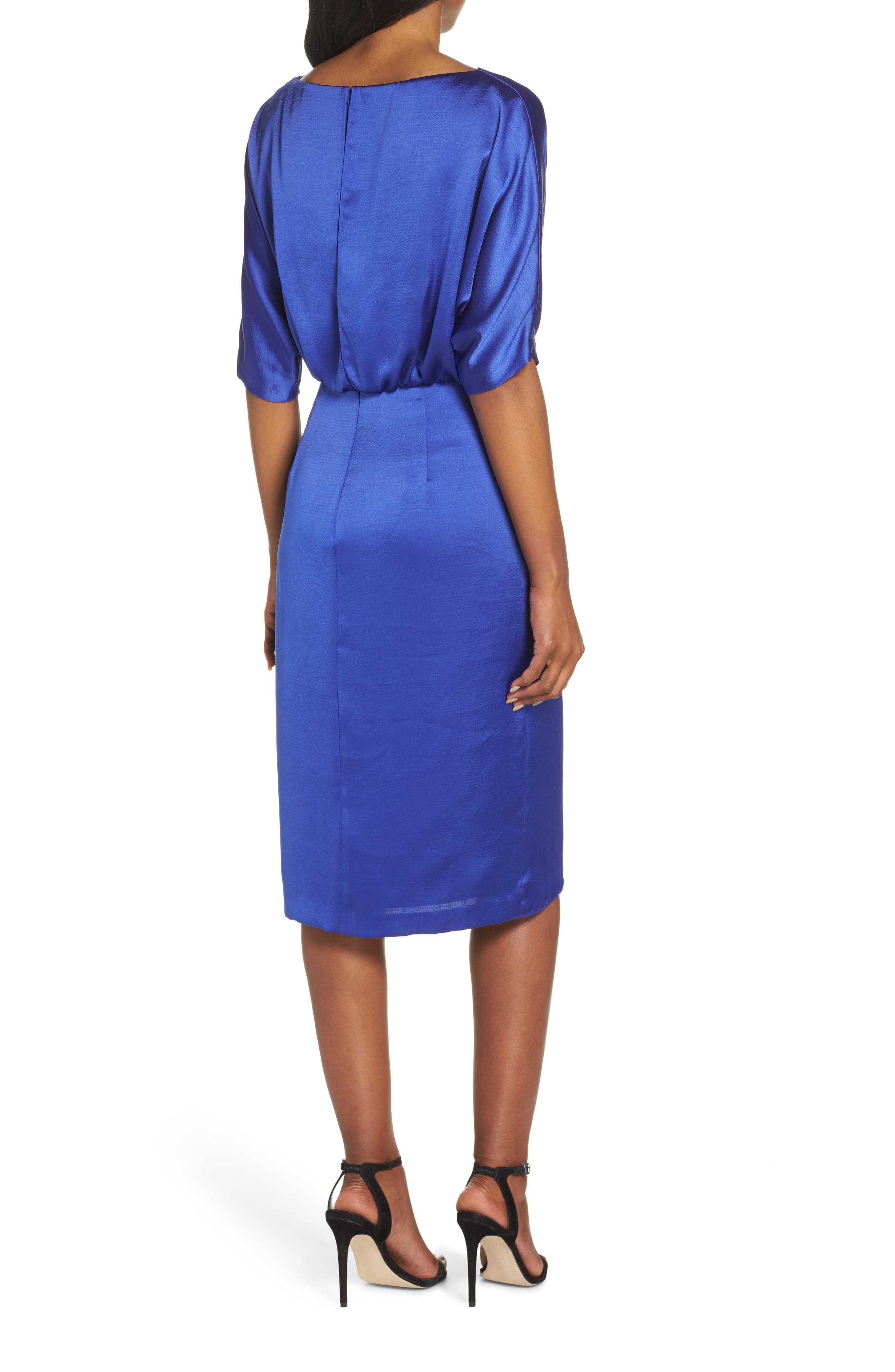Draped Blouson Dress,                             Alternate thumbnail 2, color,                             EMPIRE BLUE