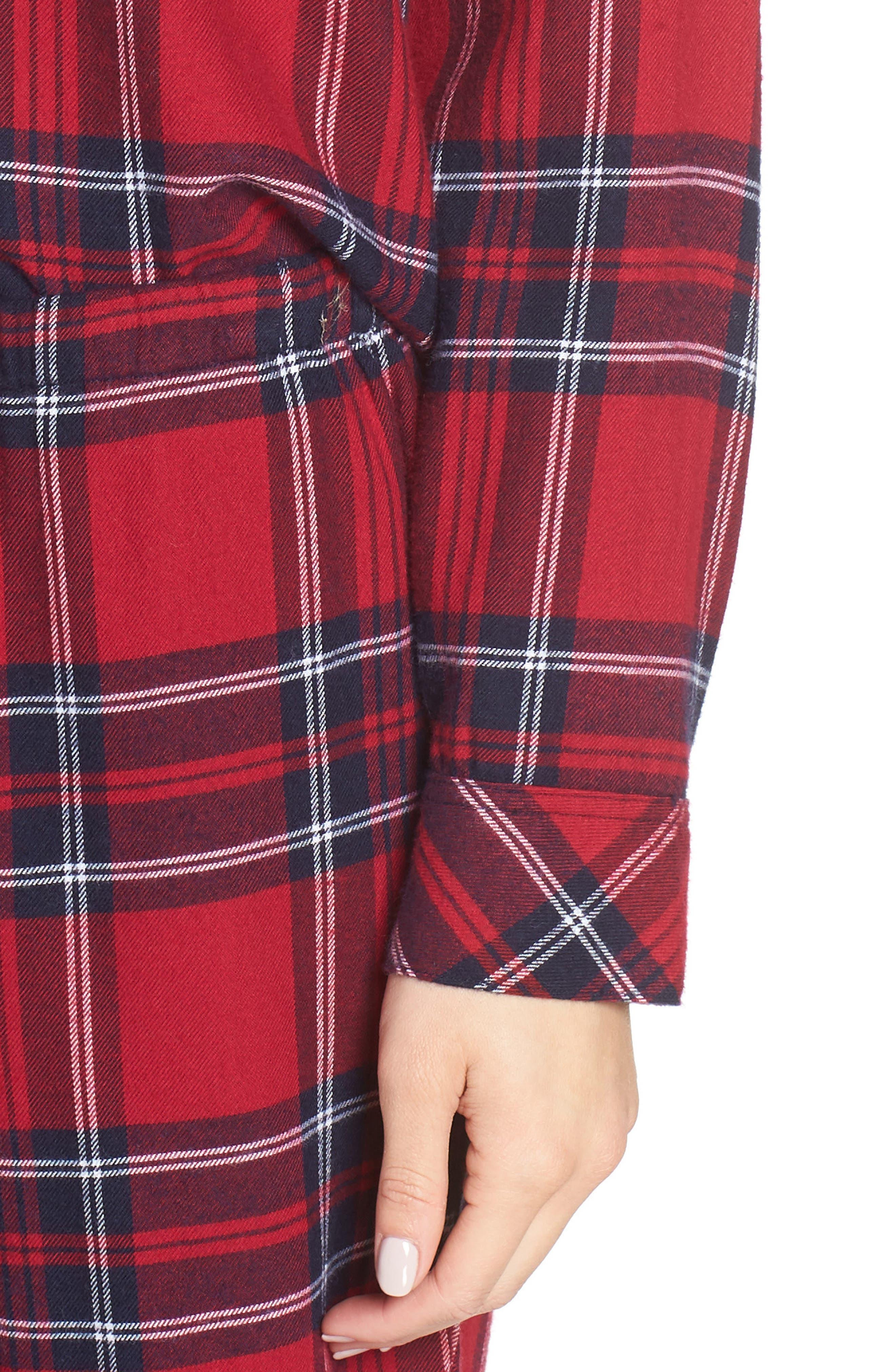 Plaid Pajamas,                             Alternate thumbnail 4, color,                             SCARLET NAVY WHITE