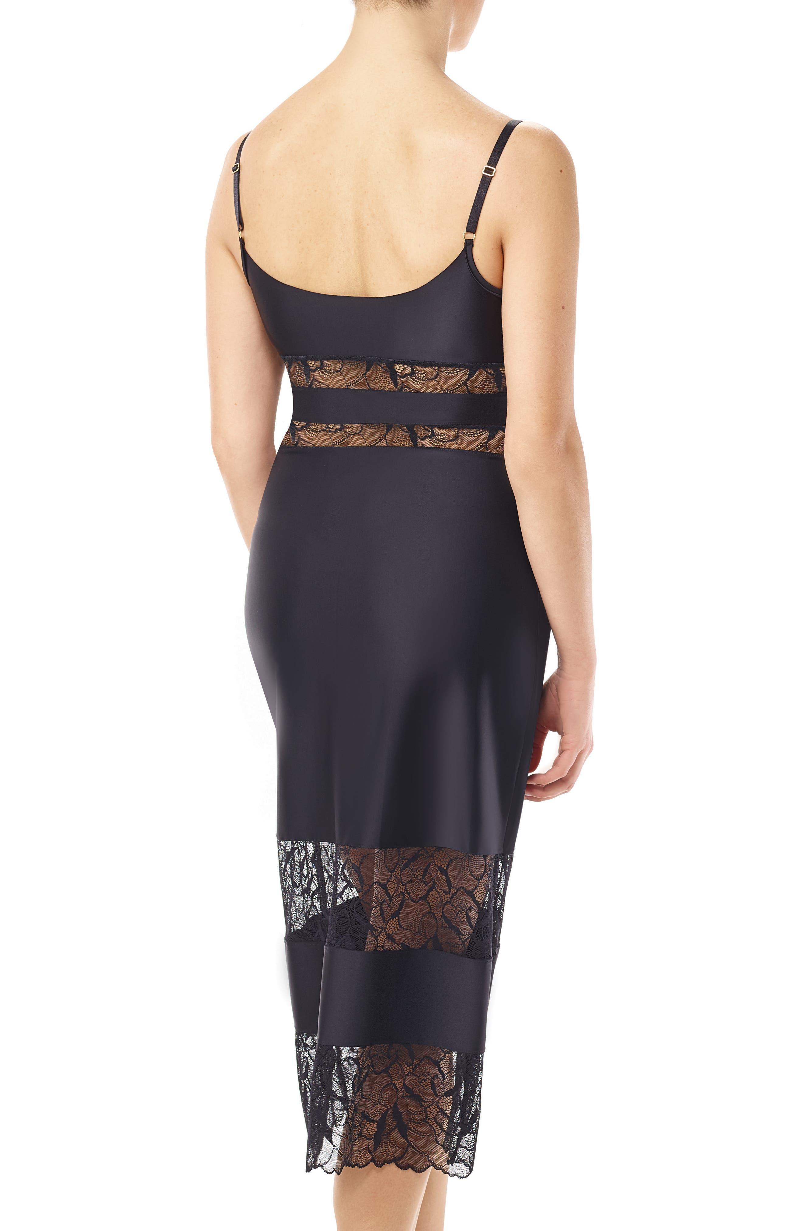 Lace & Satin Slip Dress,                             Alternate thumbnail 2, color,                             001