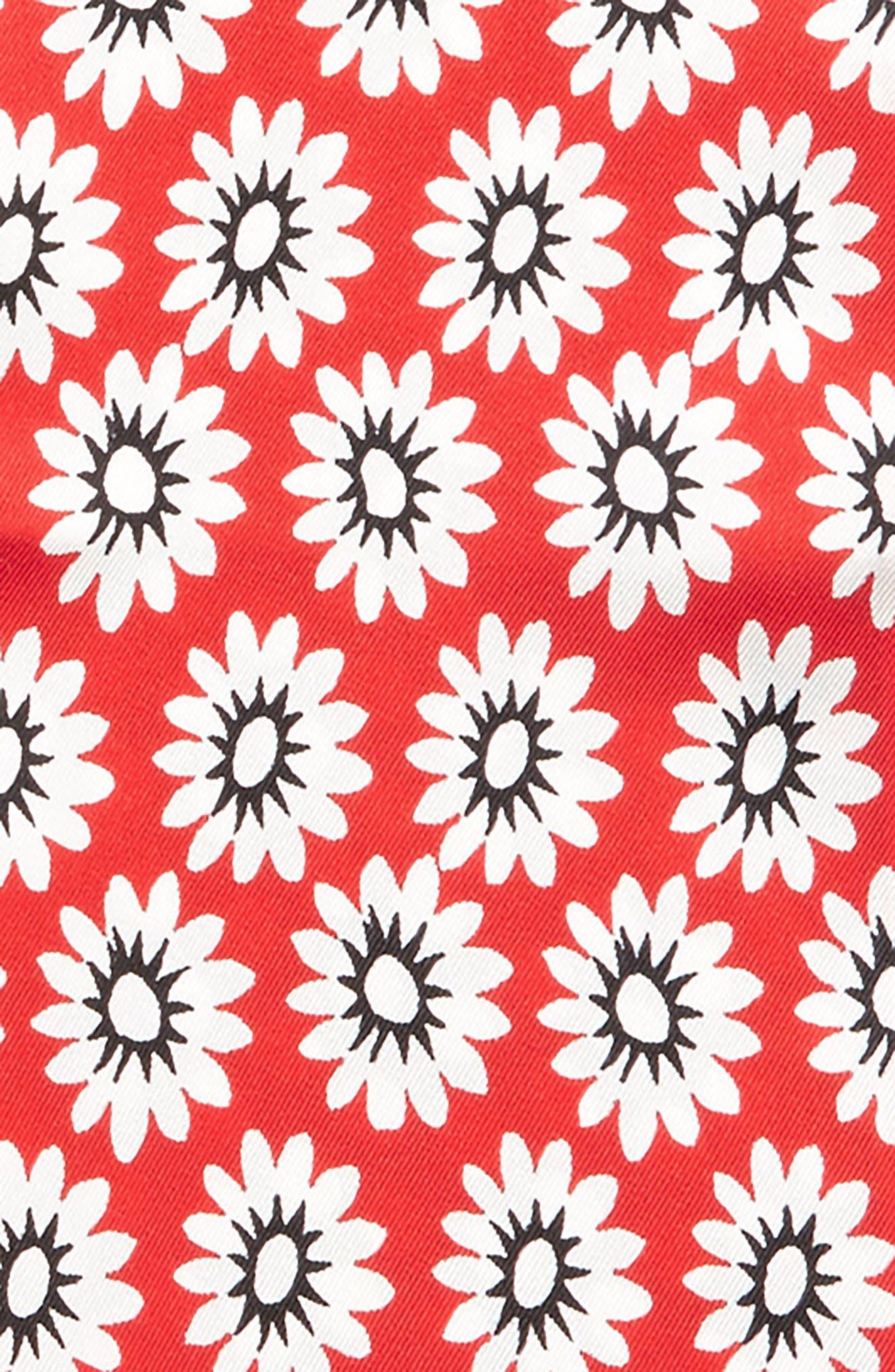 Flower Print Skinny Silk Twill Scarf,                             Alternate thumbnail 3, color,                             600