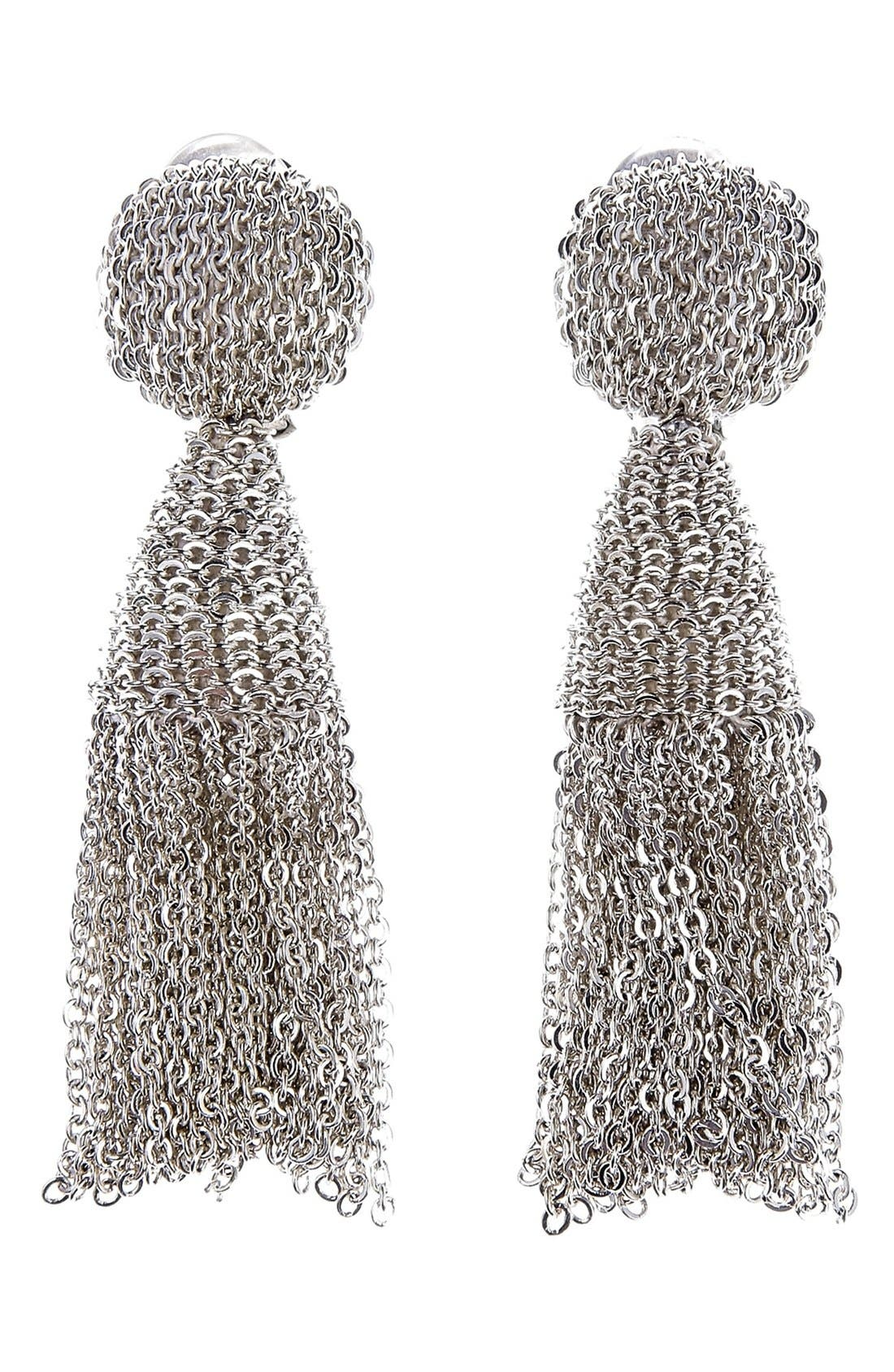 'Classic Short' Tassel Chain Drop Earrings,                         Main,                         color, SILVER