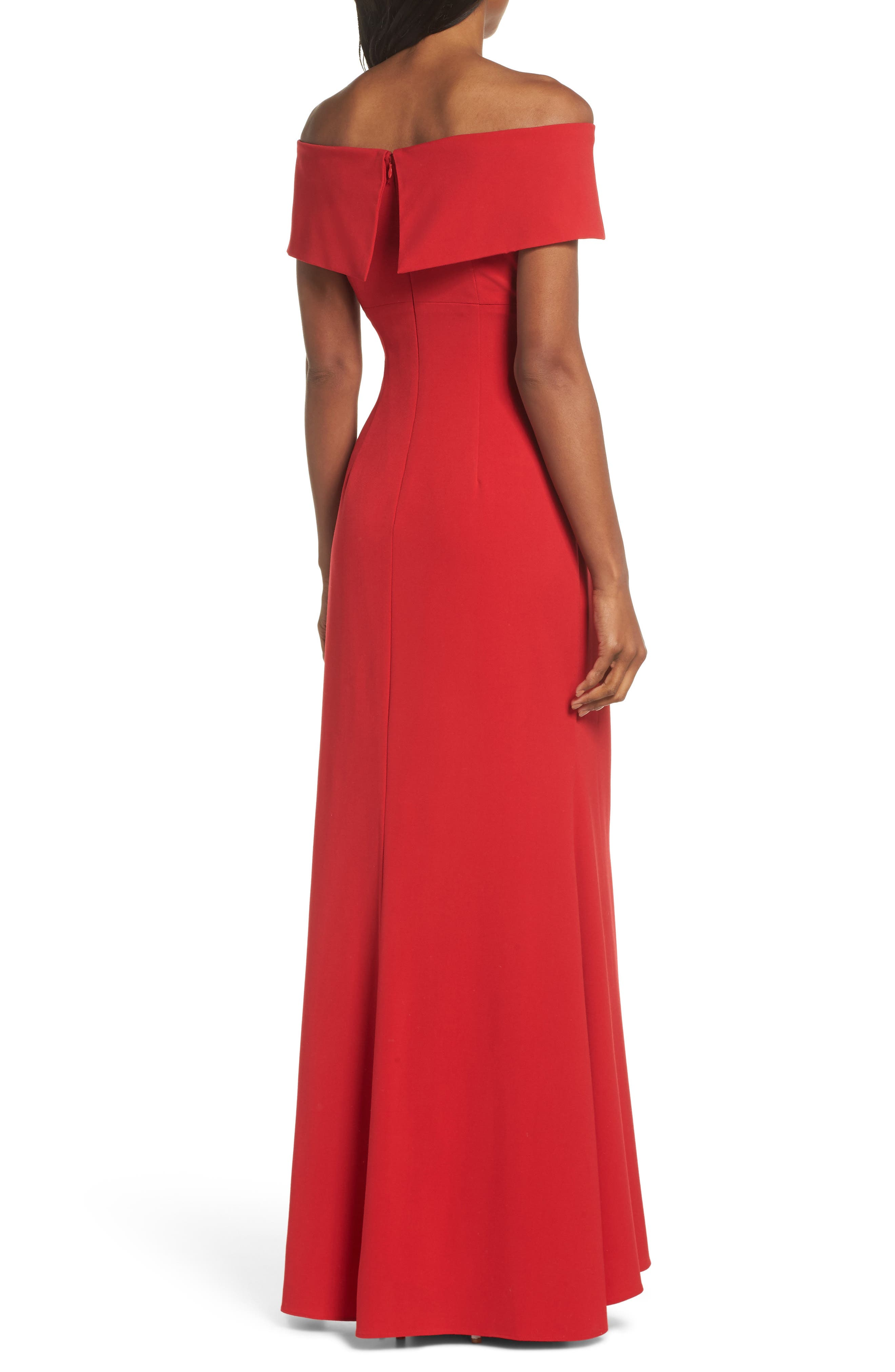 Knot Front Off the Shoulder Gown,                             Alternate thumbnail 2, color,                             RED