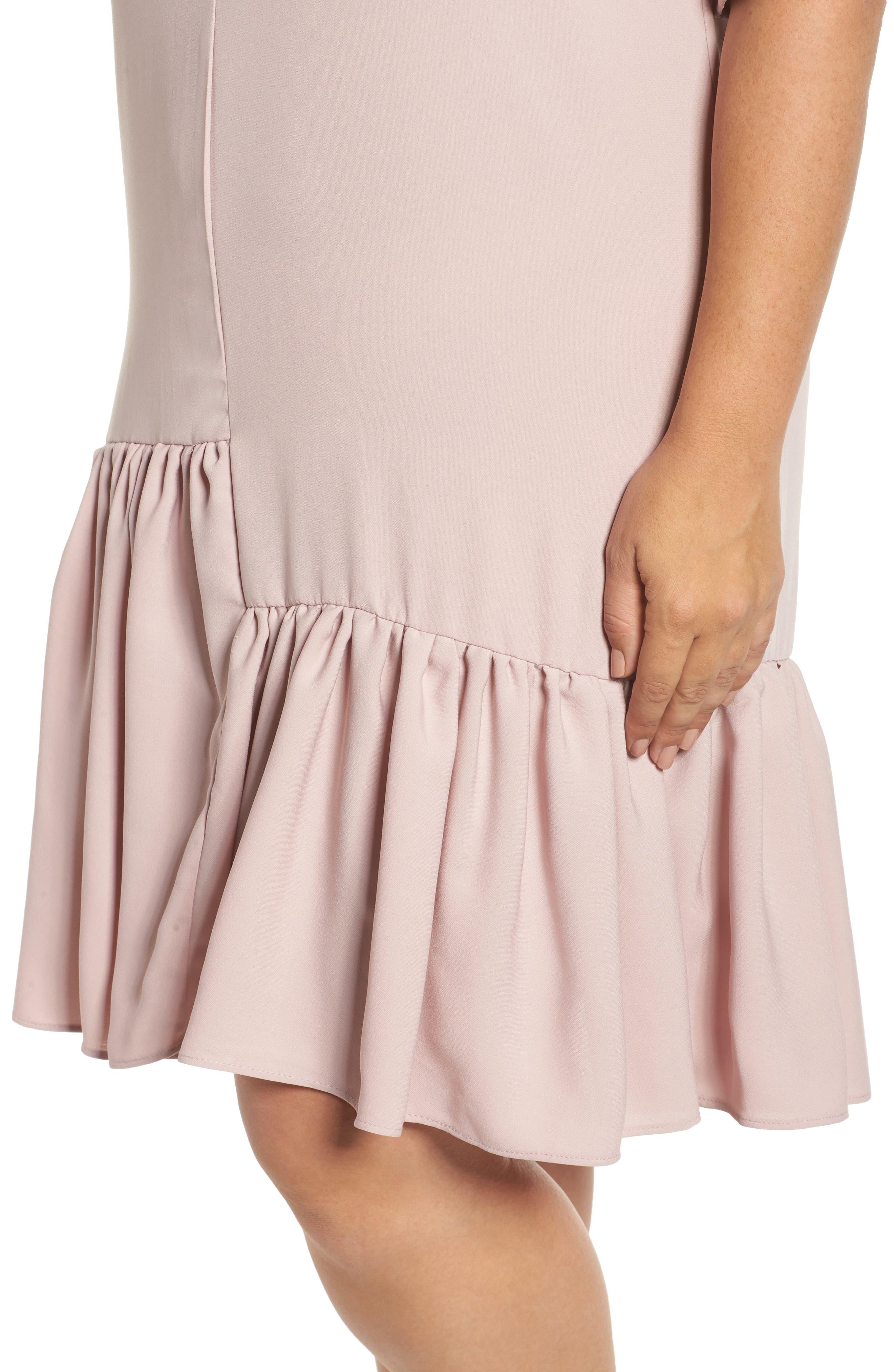 Asymmetrical Ruffle Shift Dress,                             Alternate thumbnail 4, color,                             660