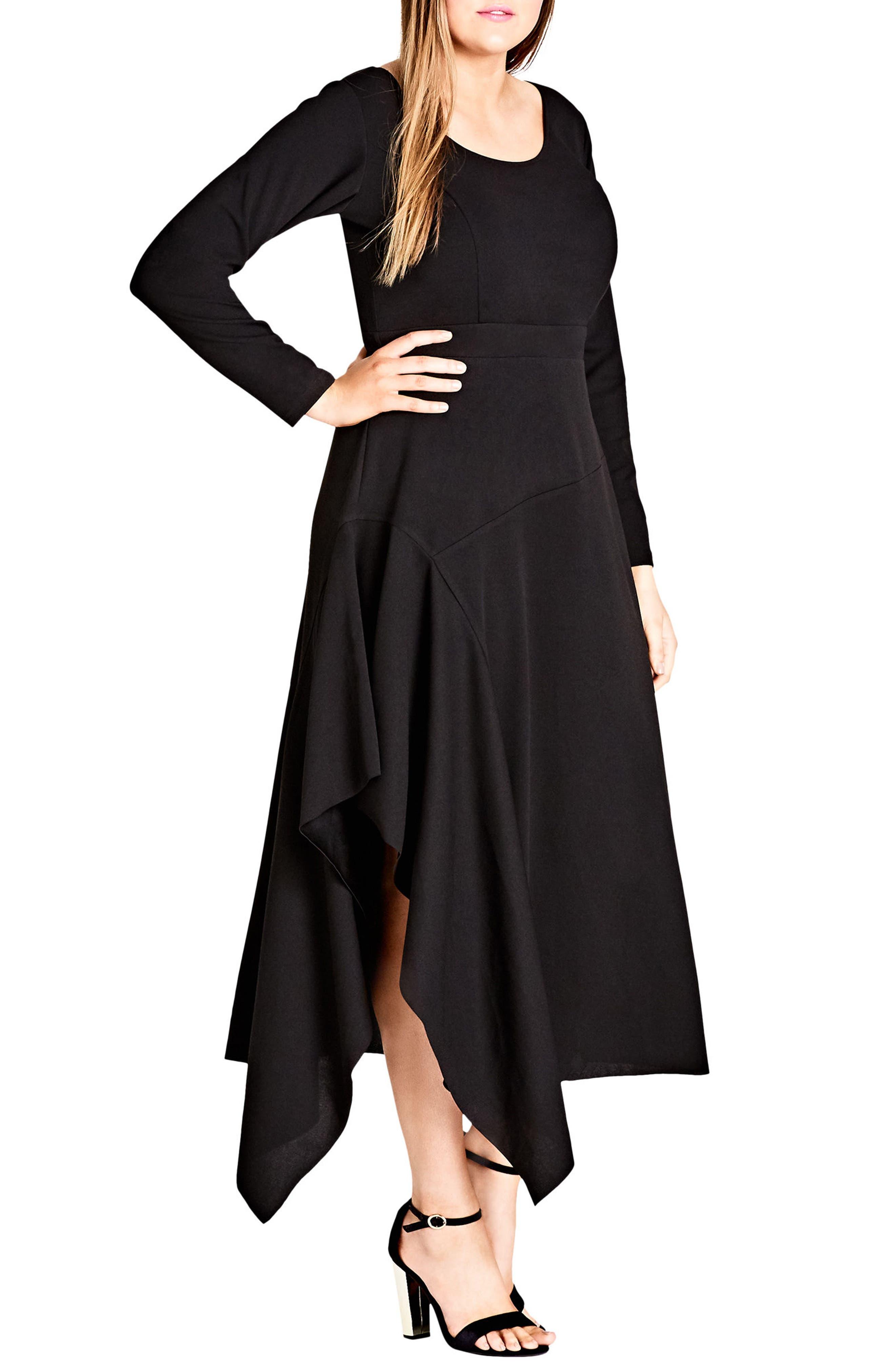 CITY CHIC,                             Marvel Asymmetrical Maxi Dress,                             Main thumbnail 1, color,                             BLACK