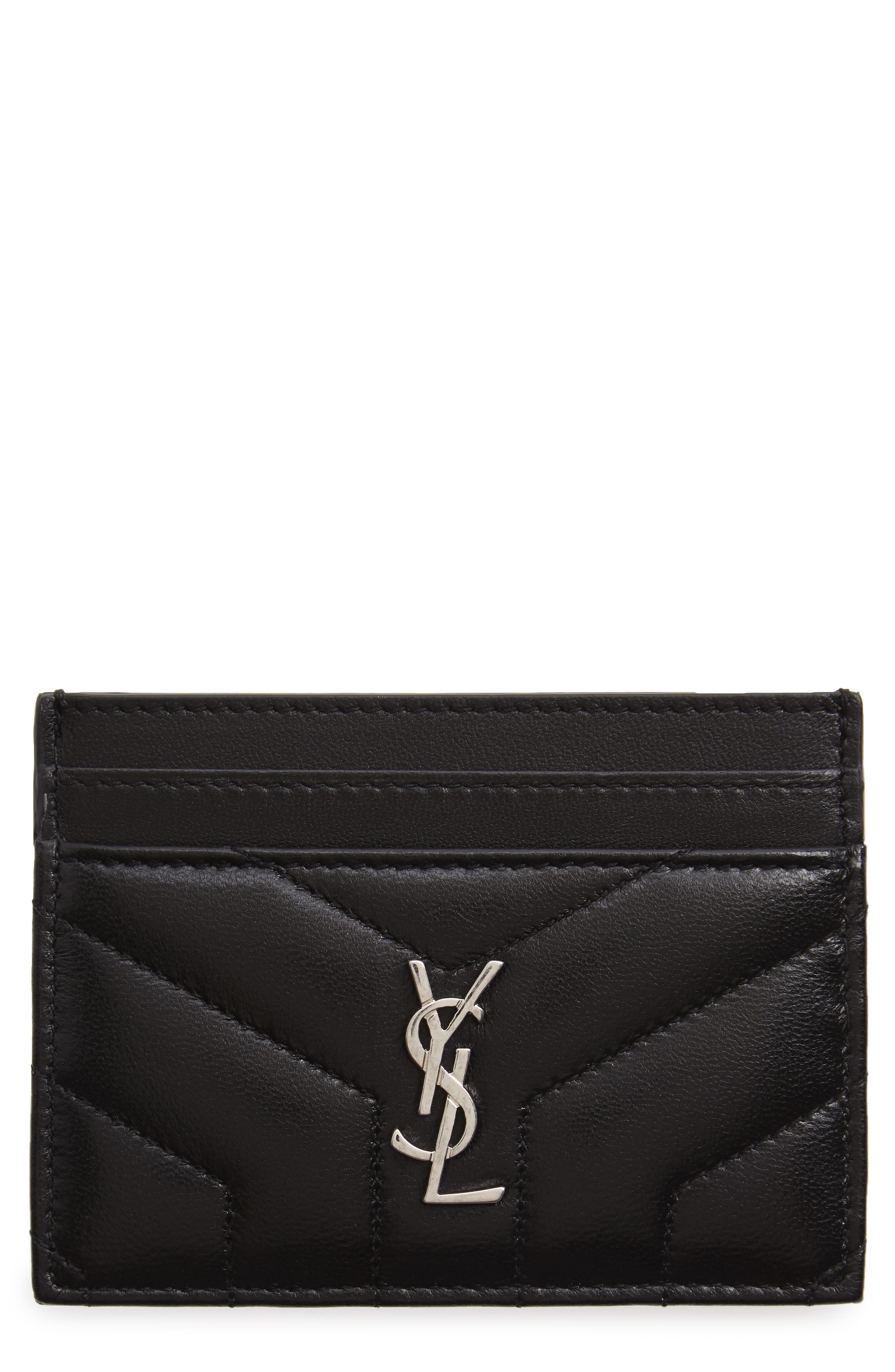 Loulou Monogram Quilted Leather Credit Card Case,                             Main thumbnail 1, color,                             NOIR