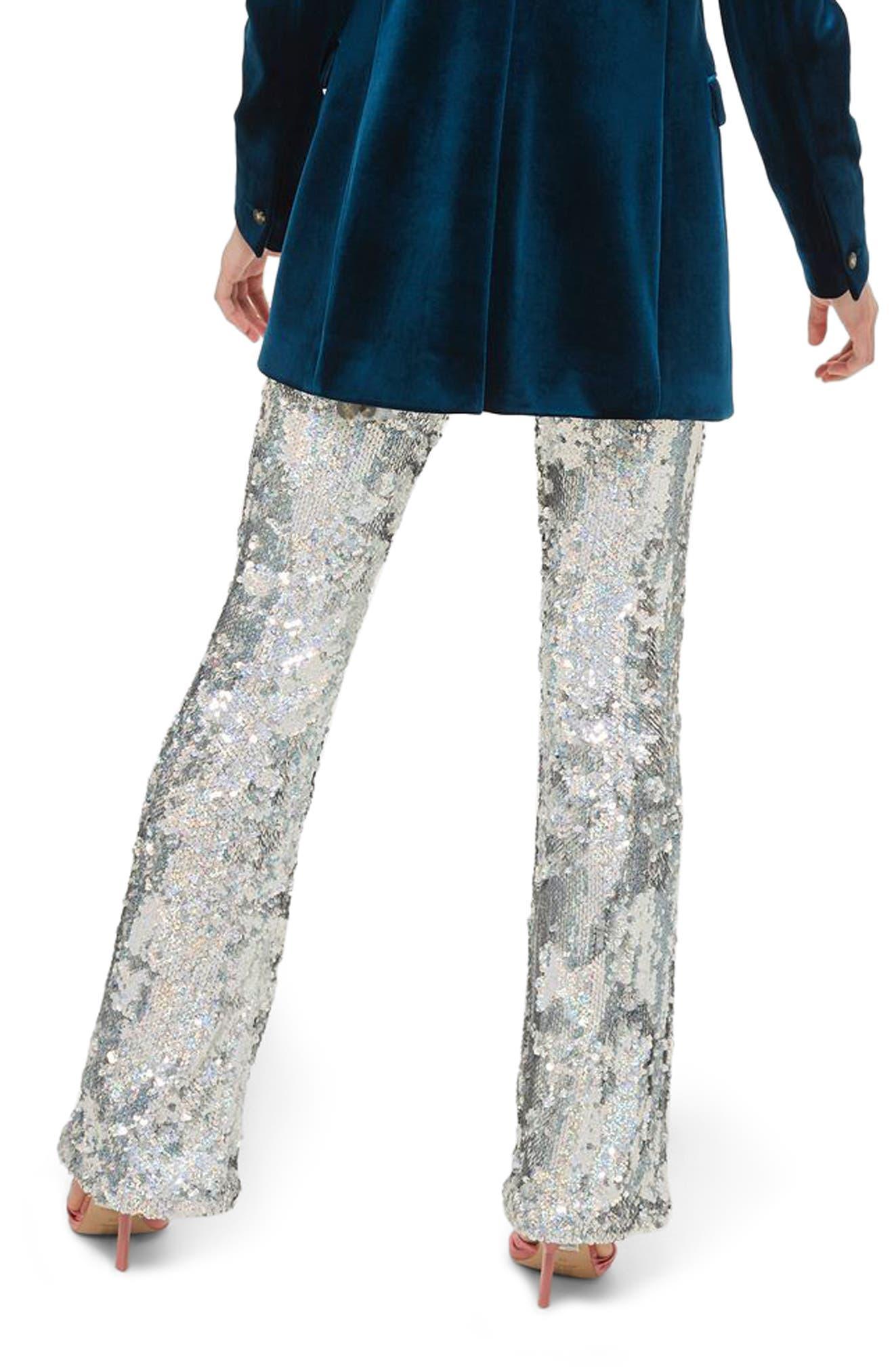 Premium Sequin Flare Leg Trousers,                             Alternate thumbnail 2, color,                             040
