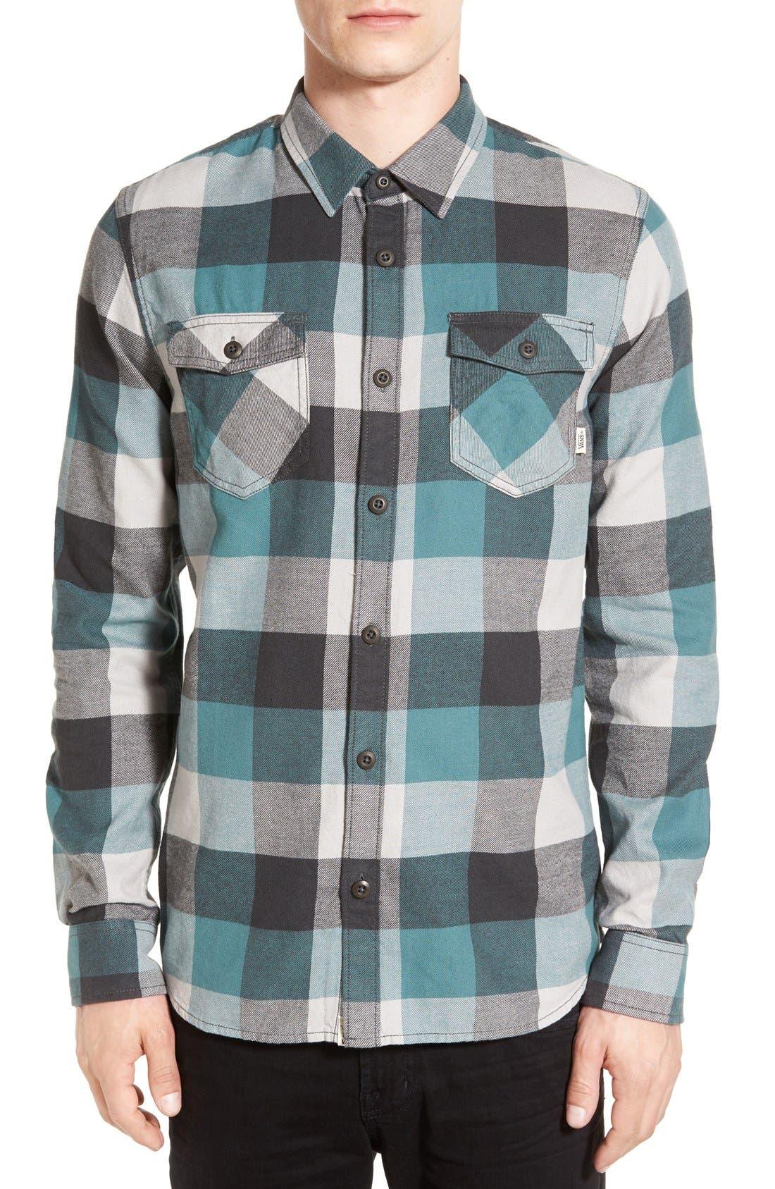 Trim Fit Check Flannel Woven Shirt,                             Main thumbnail 4, color,