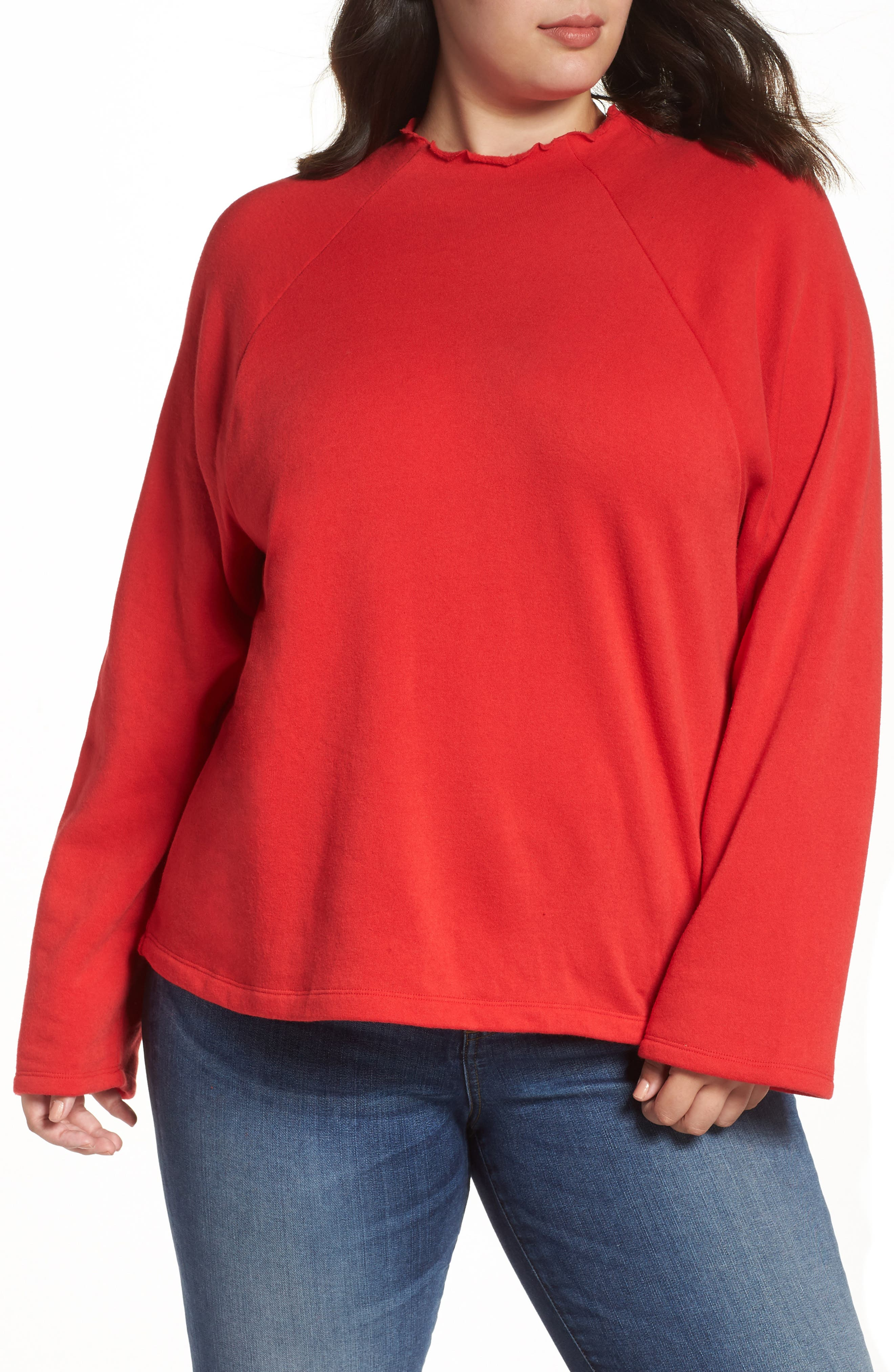 Plus Size Bp. Lettuce Edge Fleece Pullover, Red