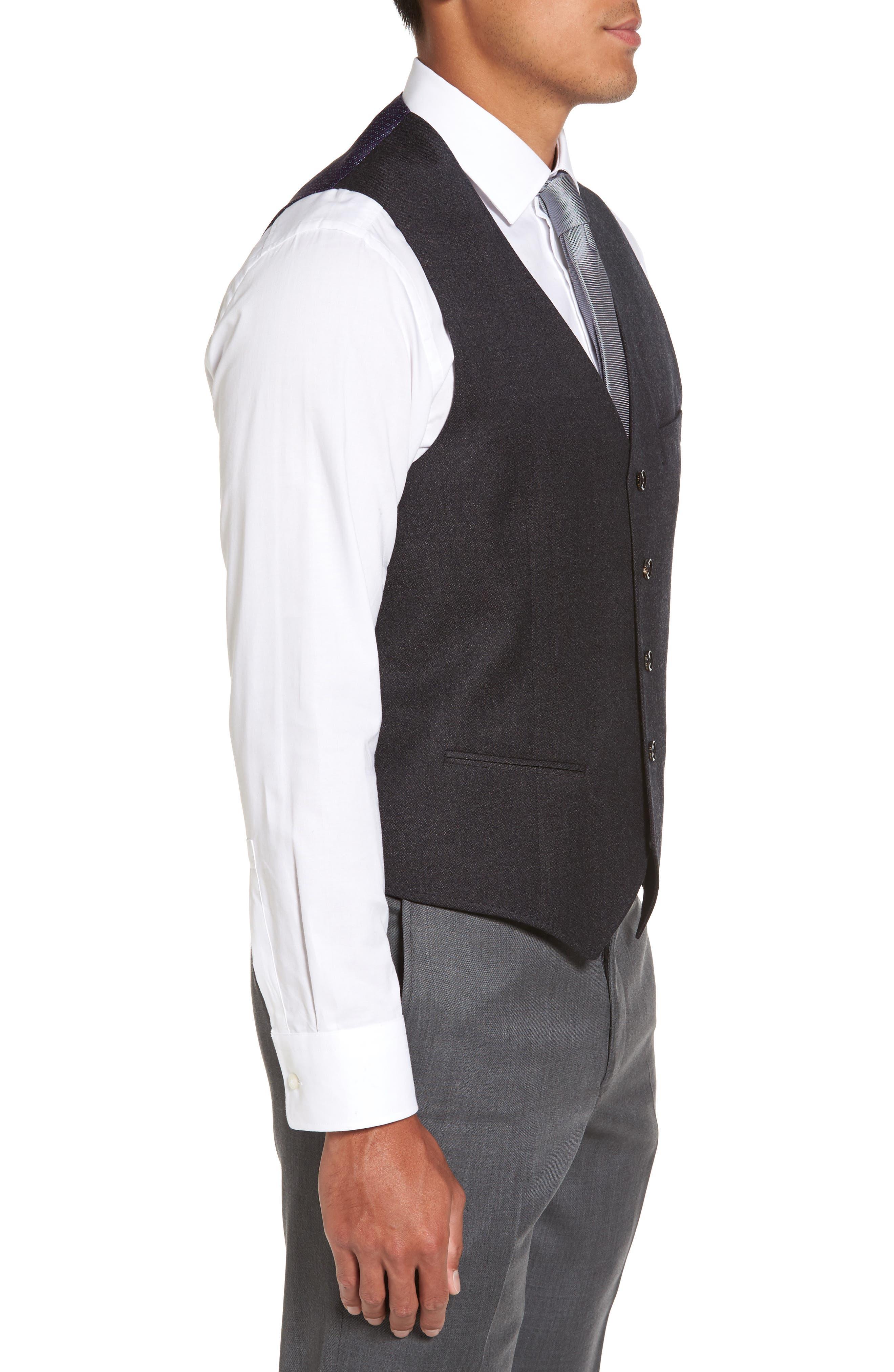 Troy Trim Fit Solid Wool Vest,                             Alternate thumbnail 3, color,                             502