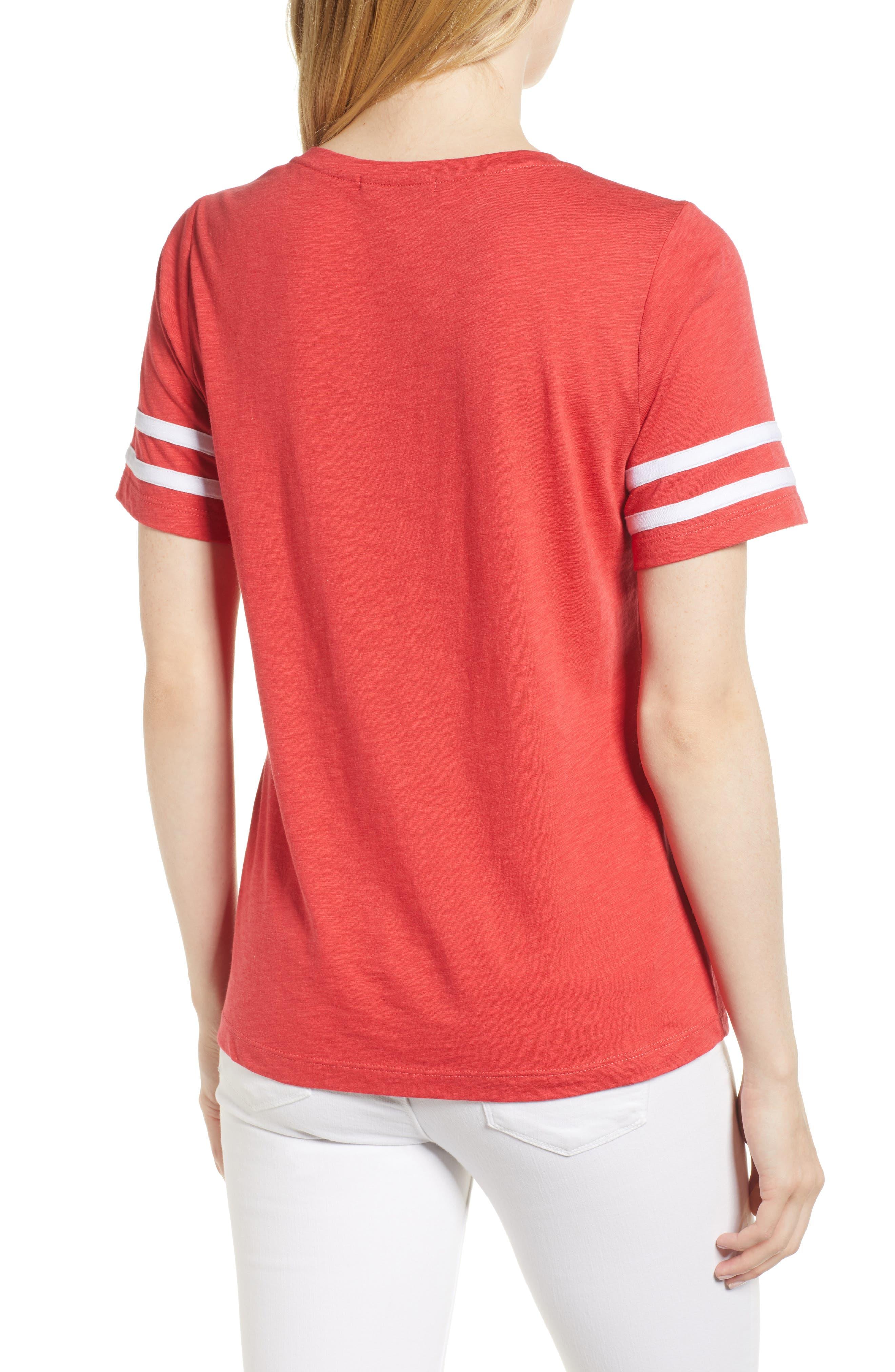 Stripe Sleeve Cotton Blend Athletic Tee,                             Alternate thumbnail 9, color,