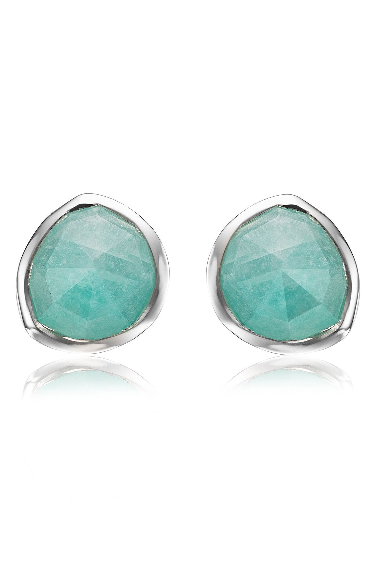 Siren Stud Earrings,                             Main thumbnail 1, color,                             SILVER/ AMAZONITE