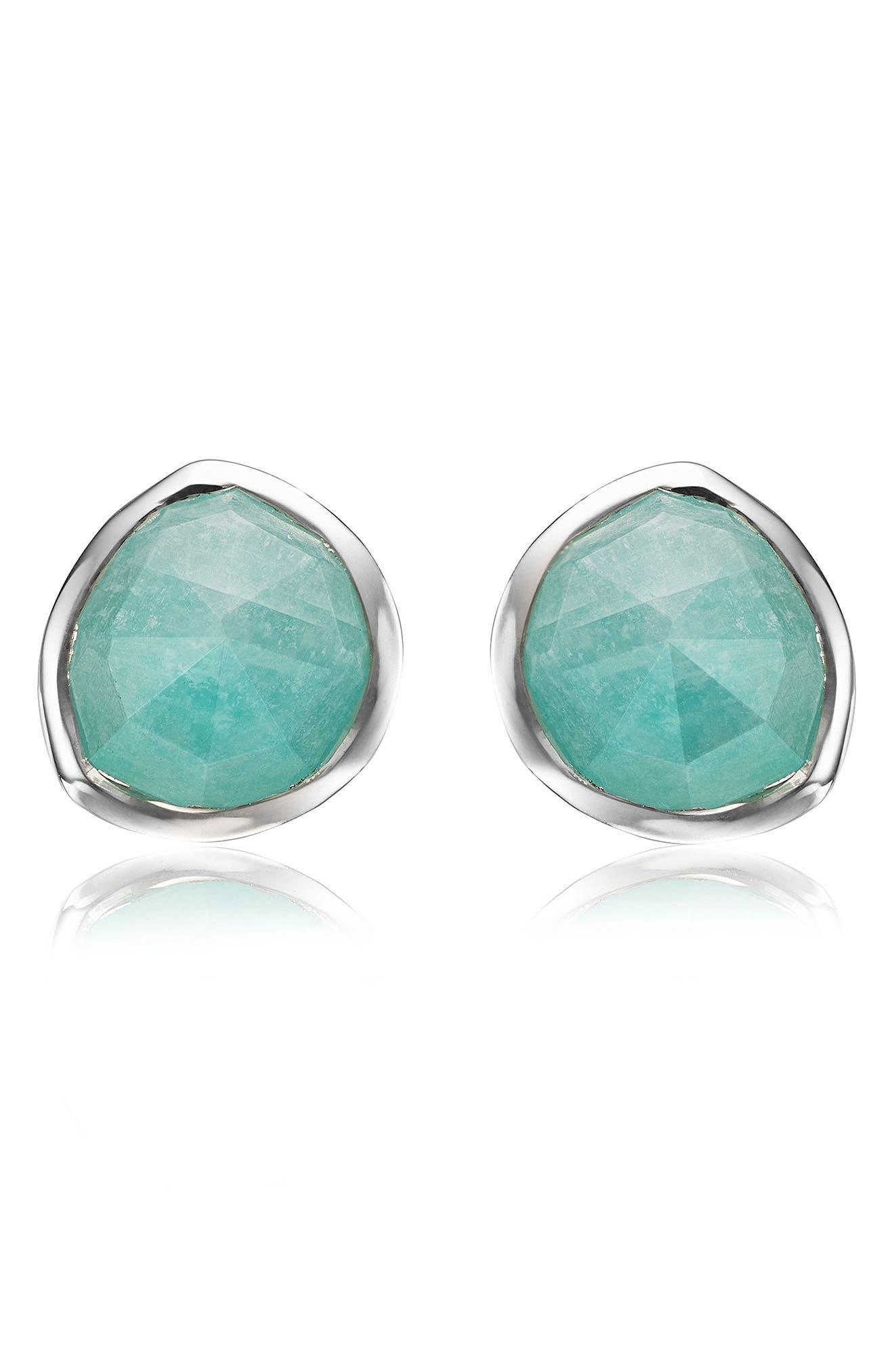Siren Stud Earrings, Main, color, SILVER/ AMAZONITE