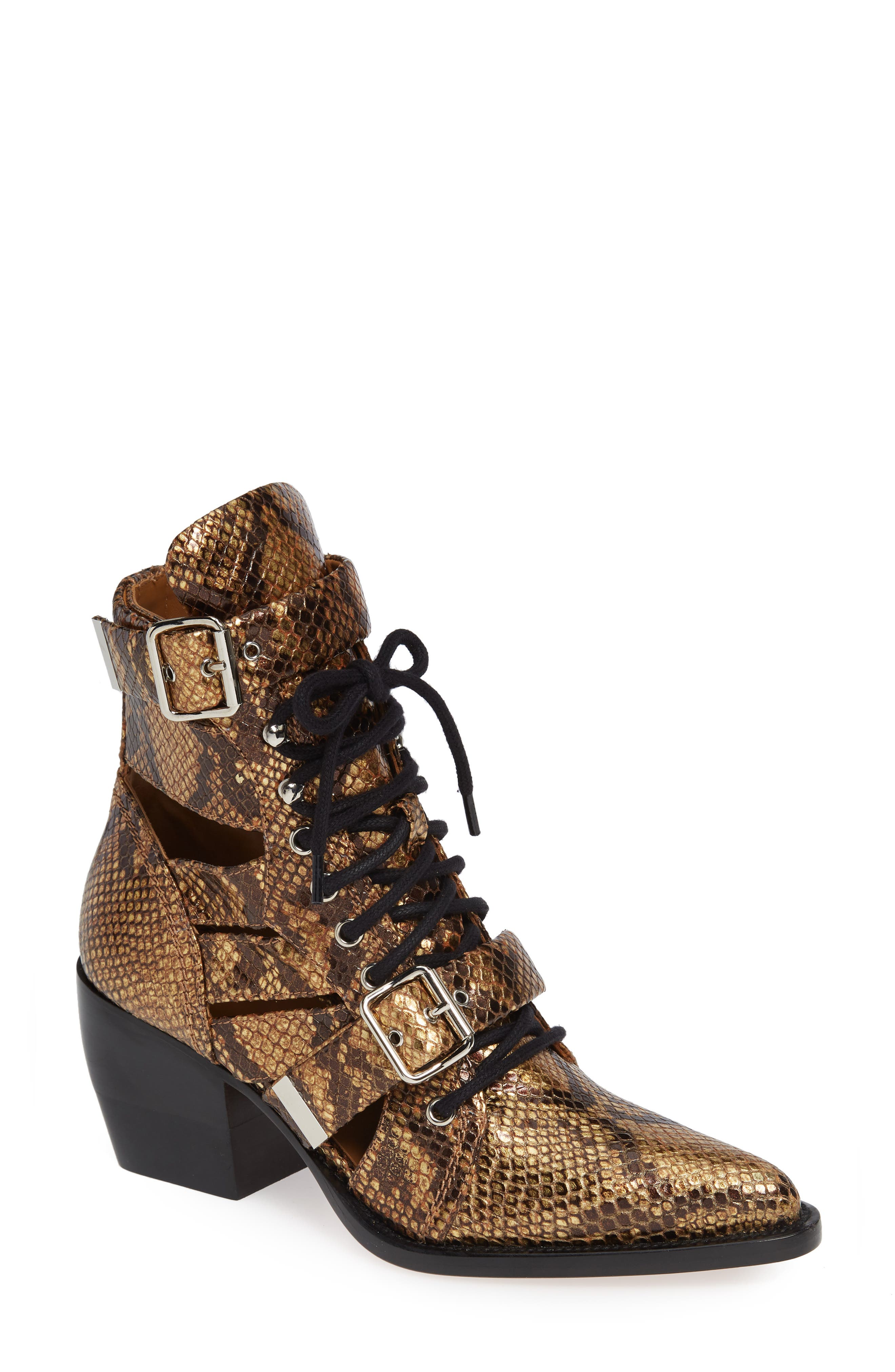 CHLOÉ Rylee Pointy Toe Cage Boot, Main, color, HARVEST GOLD LEATHER