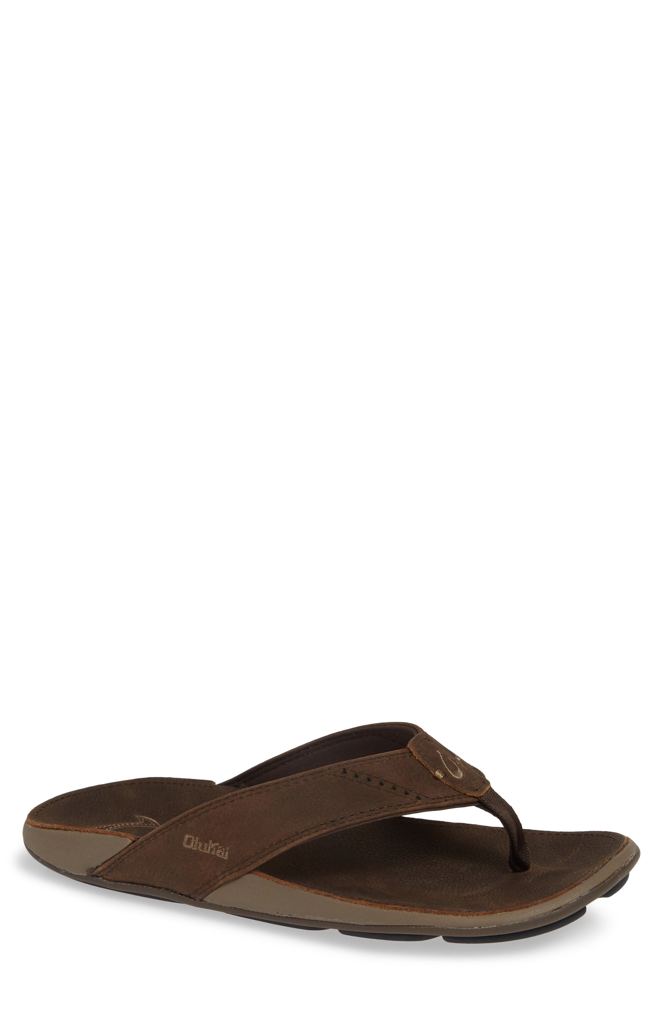 'Nui' Leather Flip Flop,                         Main,                         color, ESPRESSO LEATHER